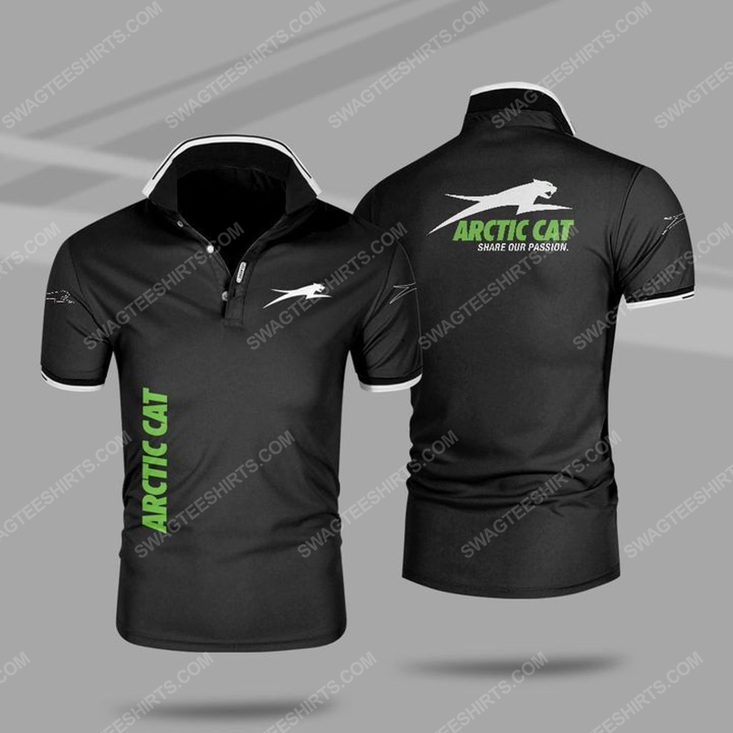Arctic cat share our passion all over print polo shirt - black 1
