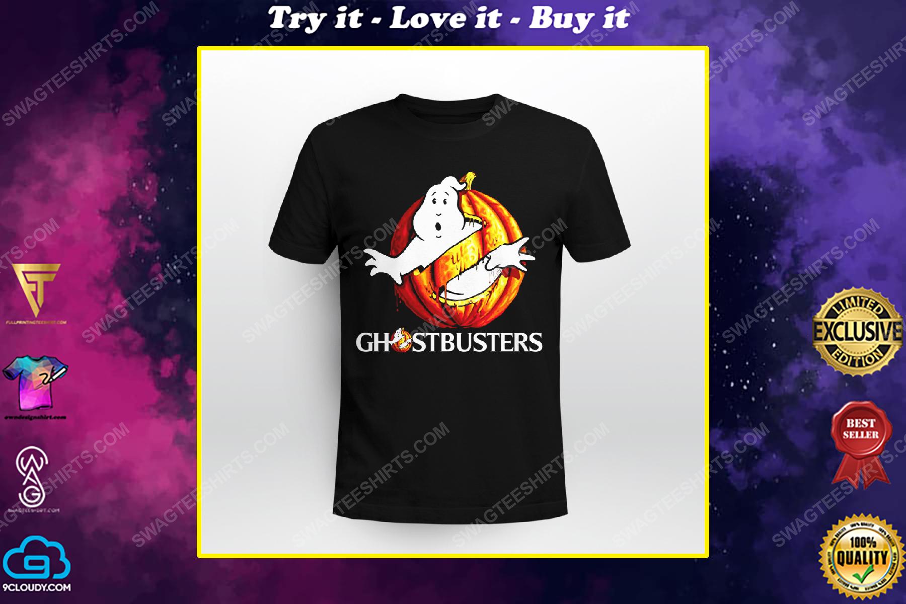 Ghostbusters with halloween pumpkin shirt