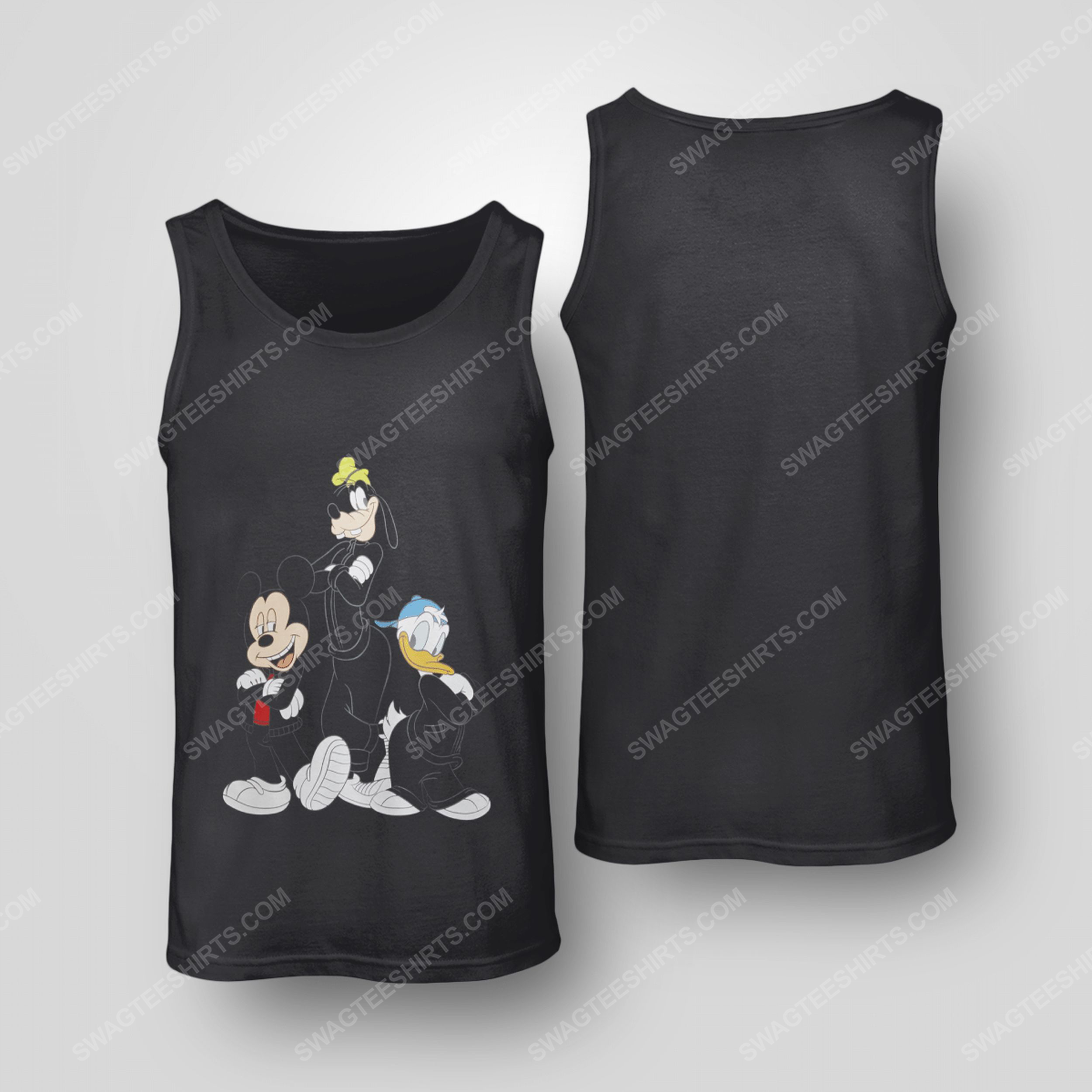 Mickey donald and goofy men in black tank top(1)