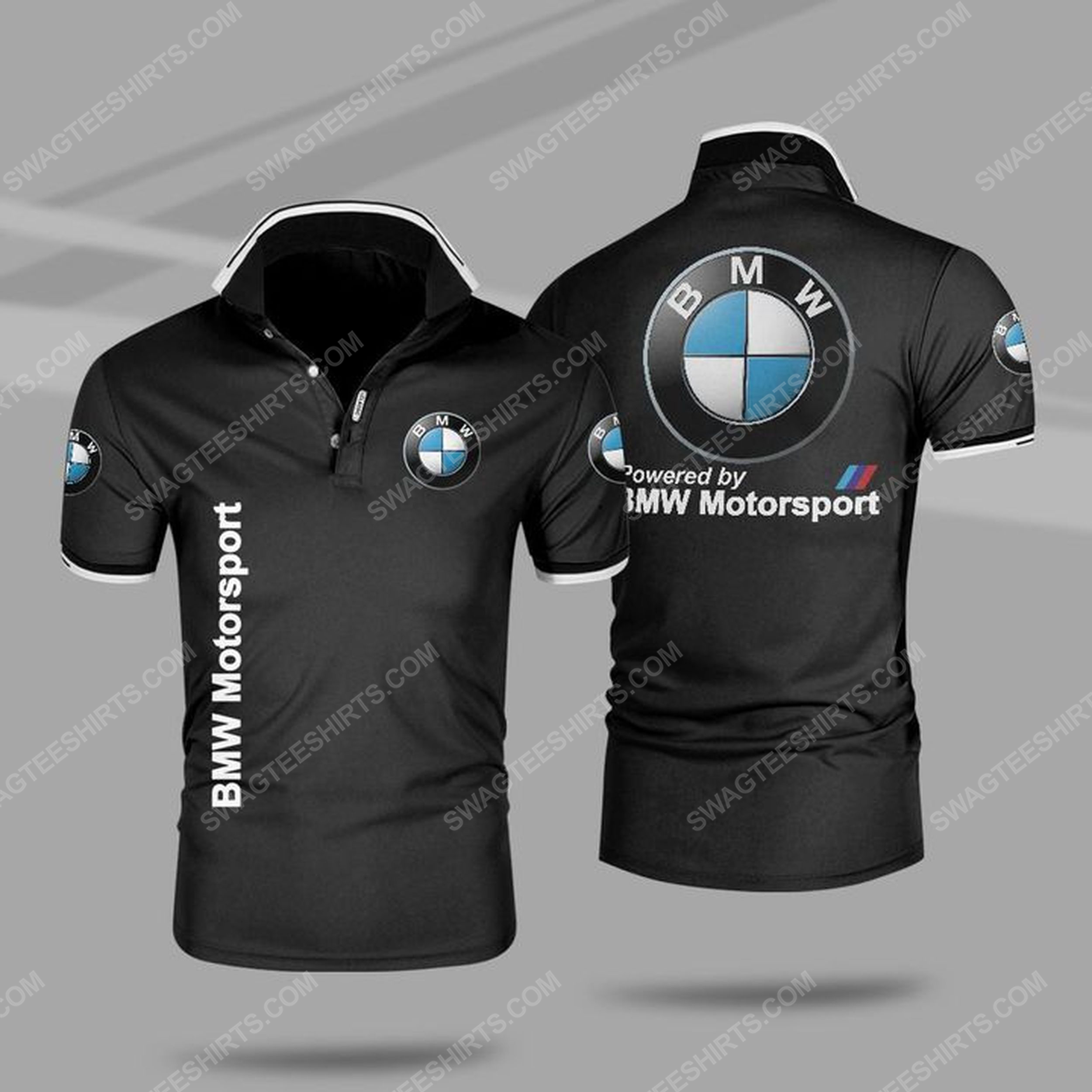 Powered by bmw motorsport all over print polo shirt - black 1