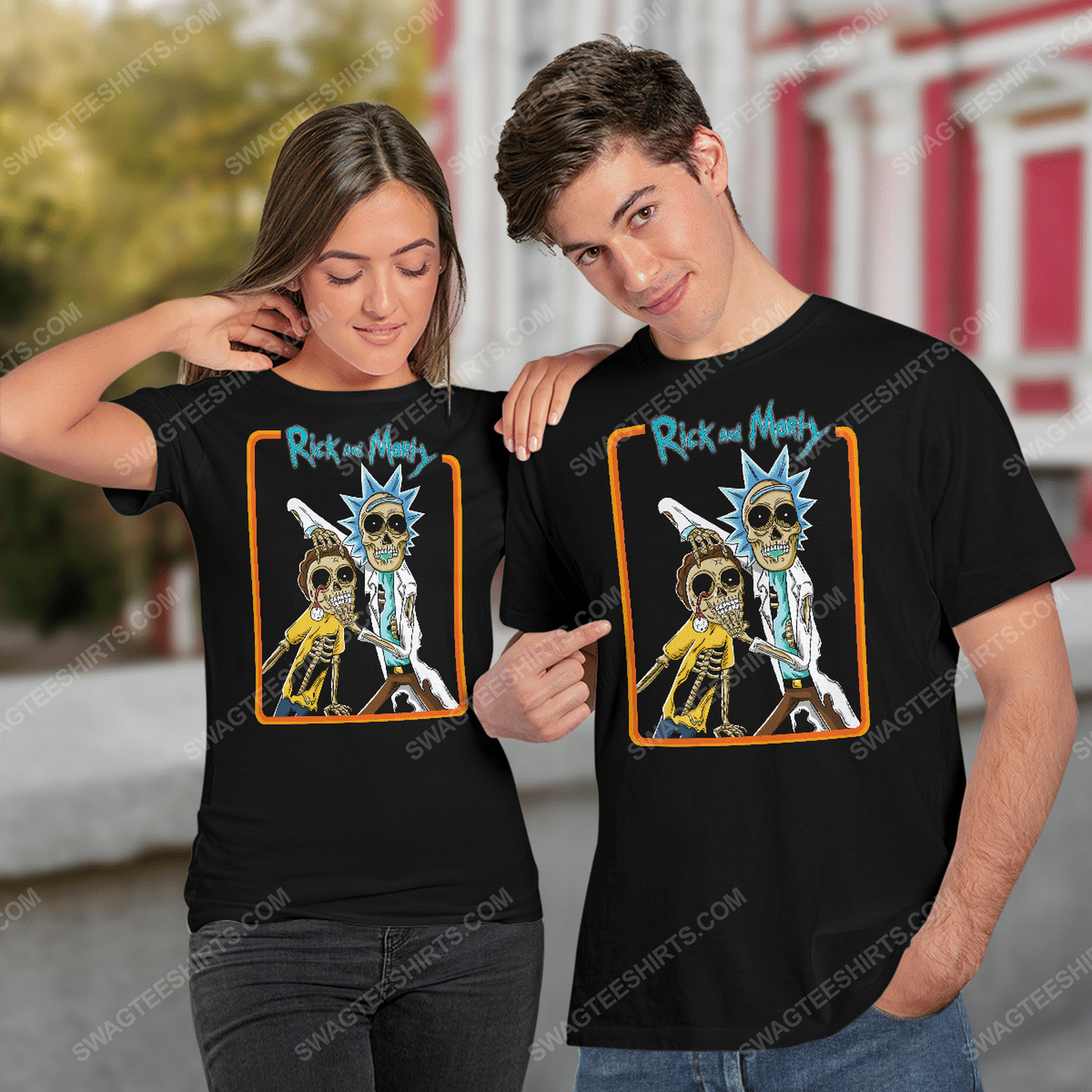 Rick and morty tv show zombie halloween tshirt(1)