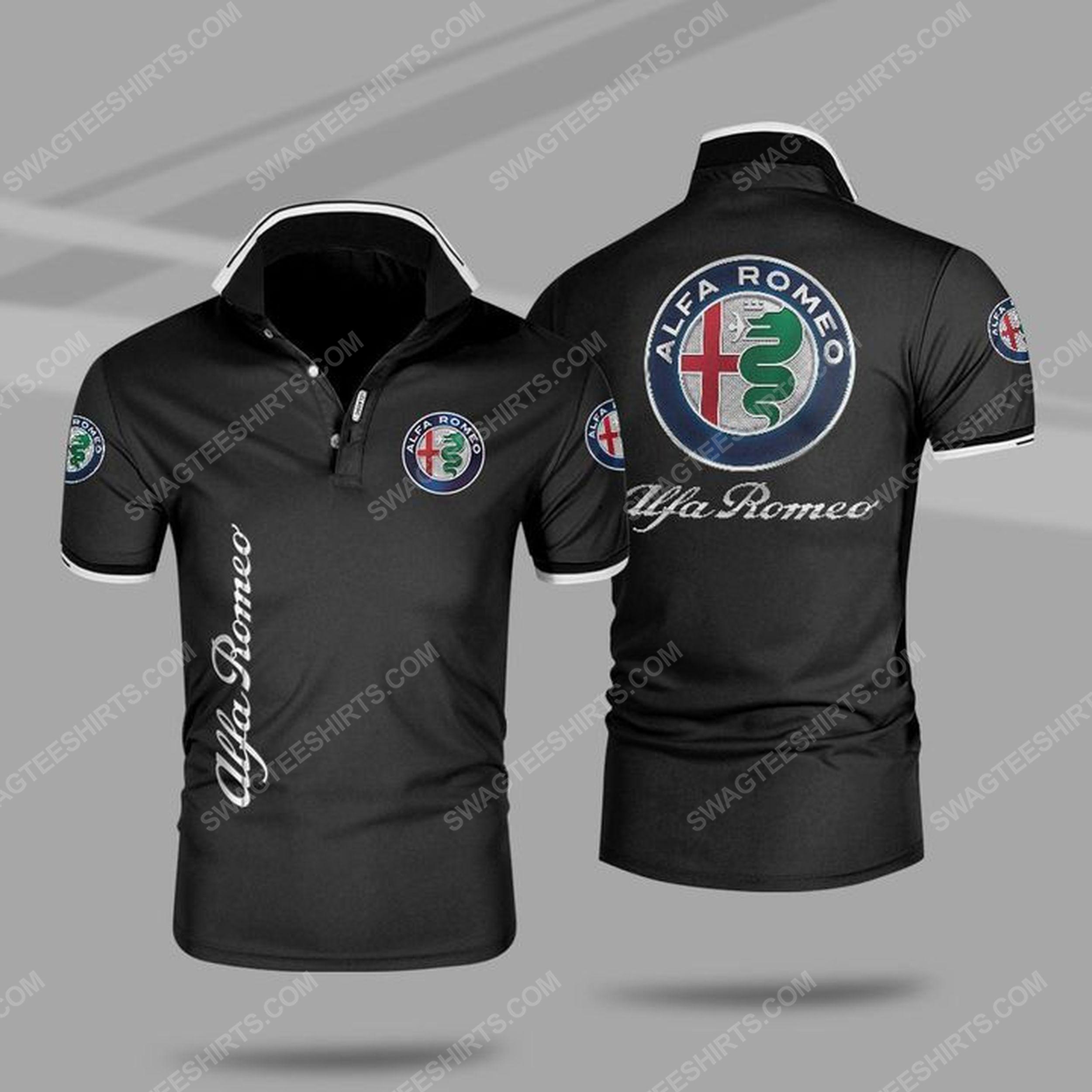 The alfa romeo symbol all over print polo shirt - black 1