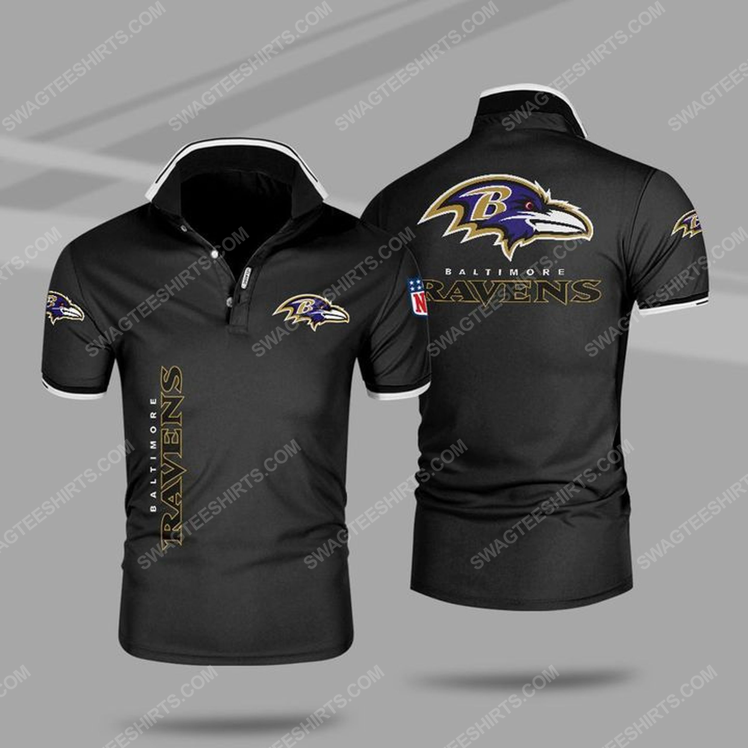 The baltimore ravens nfl all over print polo shirt - black 1
