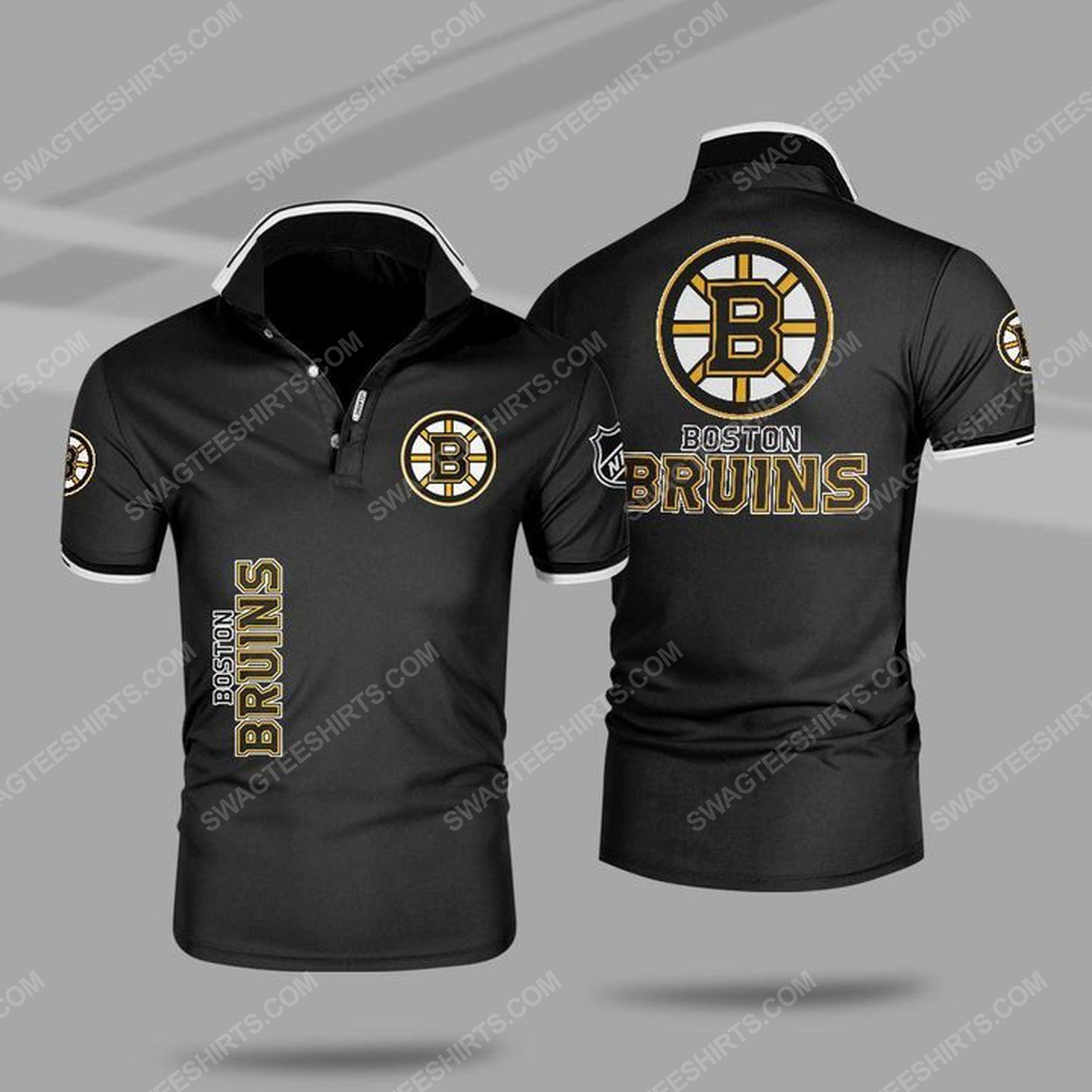 The boston bruins nhl all over print polo shirt - black 1