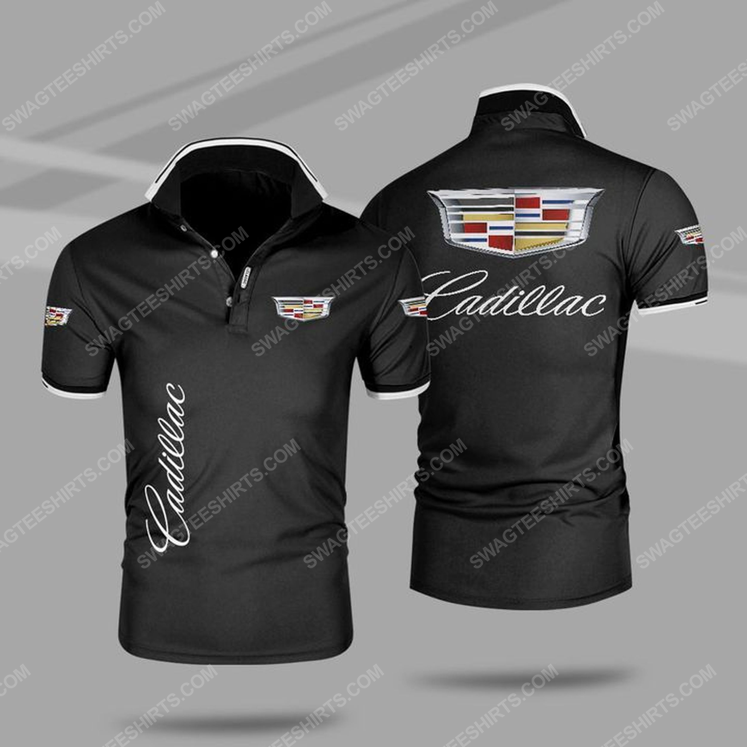 The cadillac car symbol all over print polo shirt - black 1