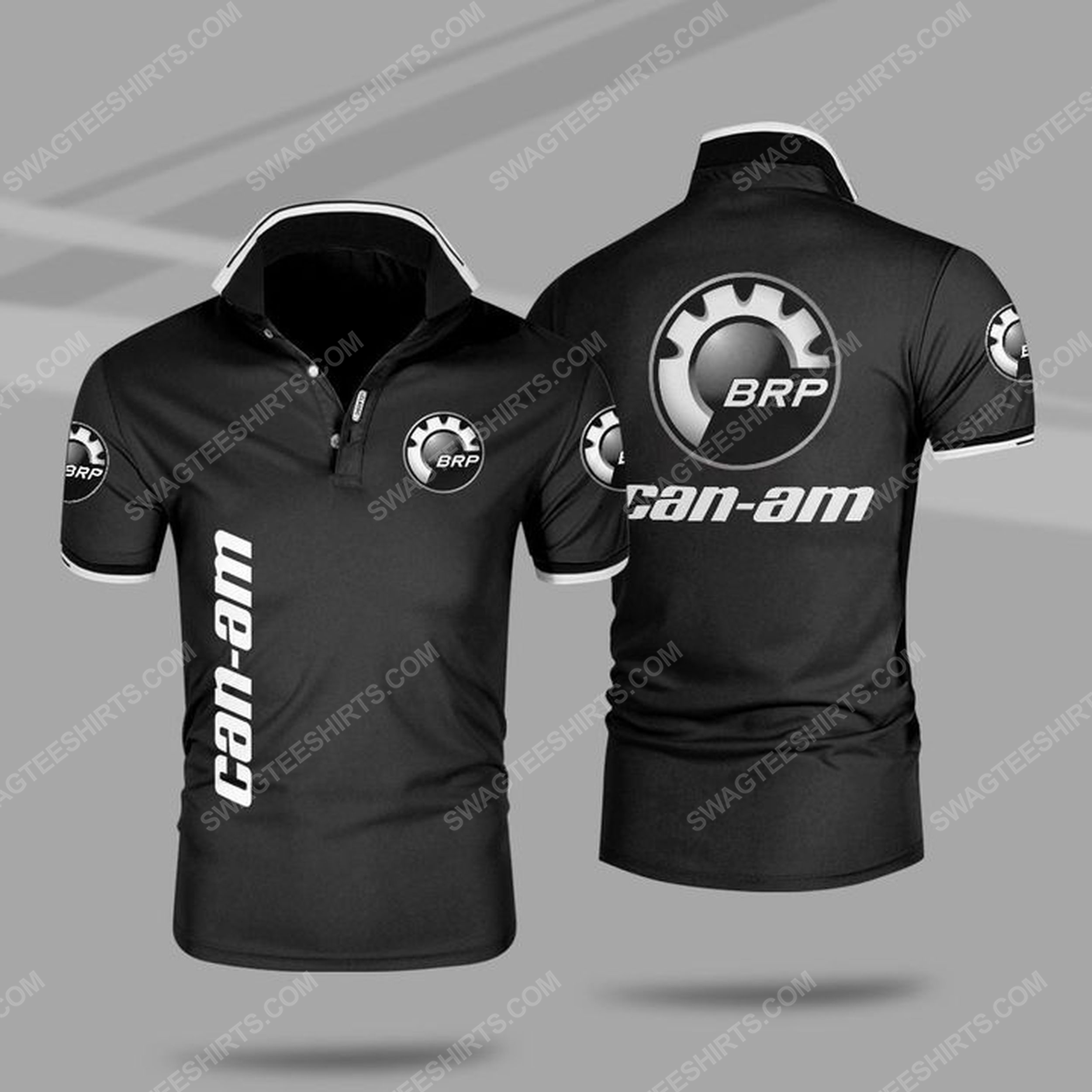 The can-am motorcycles symbol all over print polo shirt - black 1