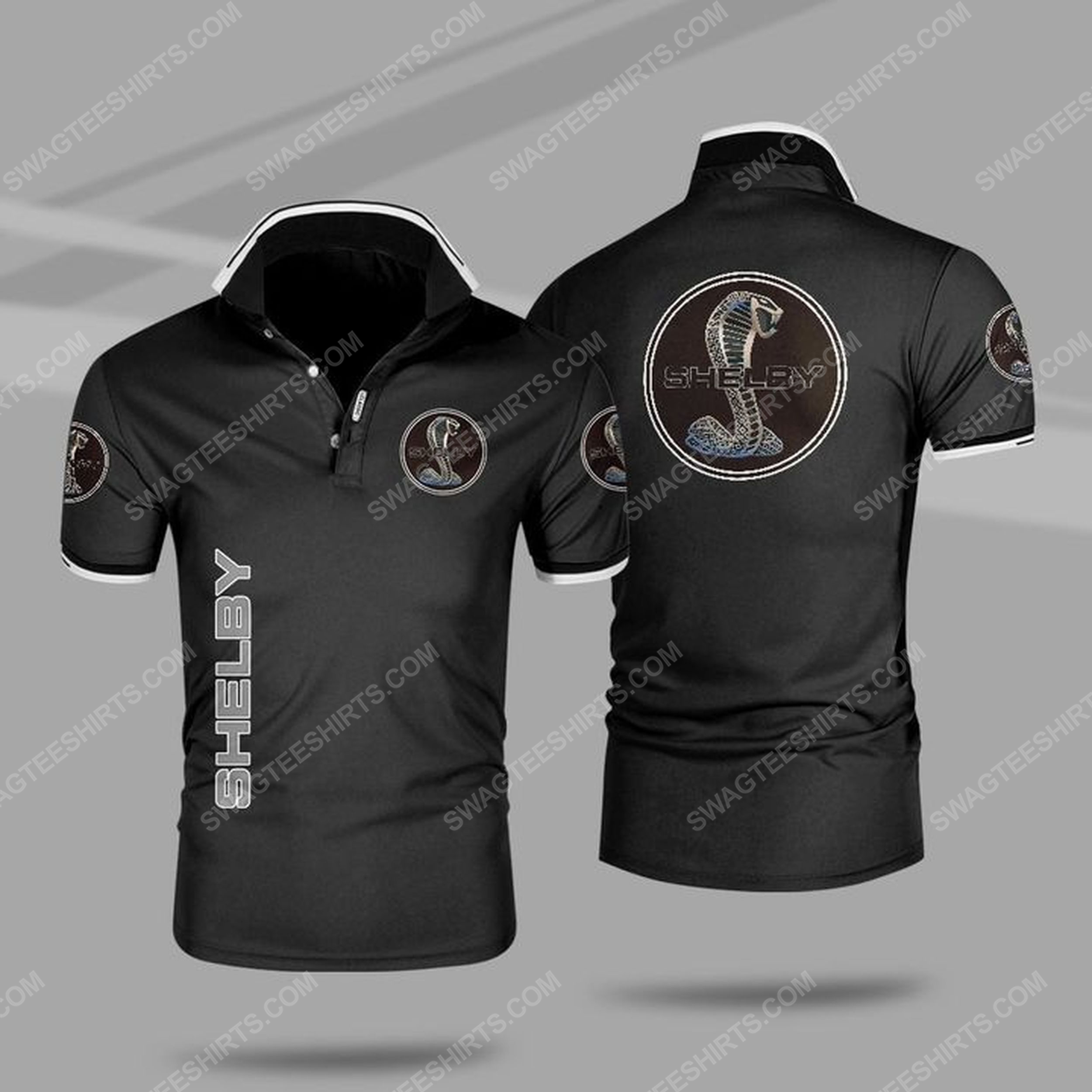 The ford mustang shelby car all over print polo shirt - black 1
