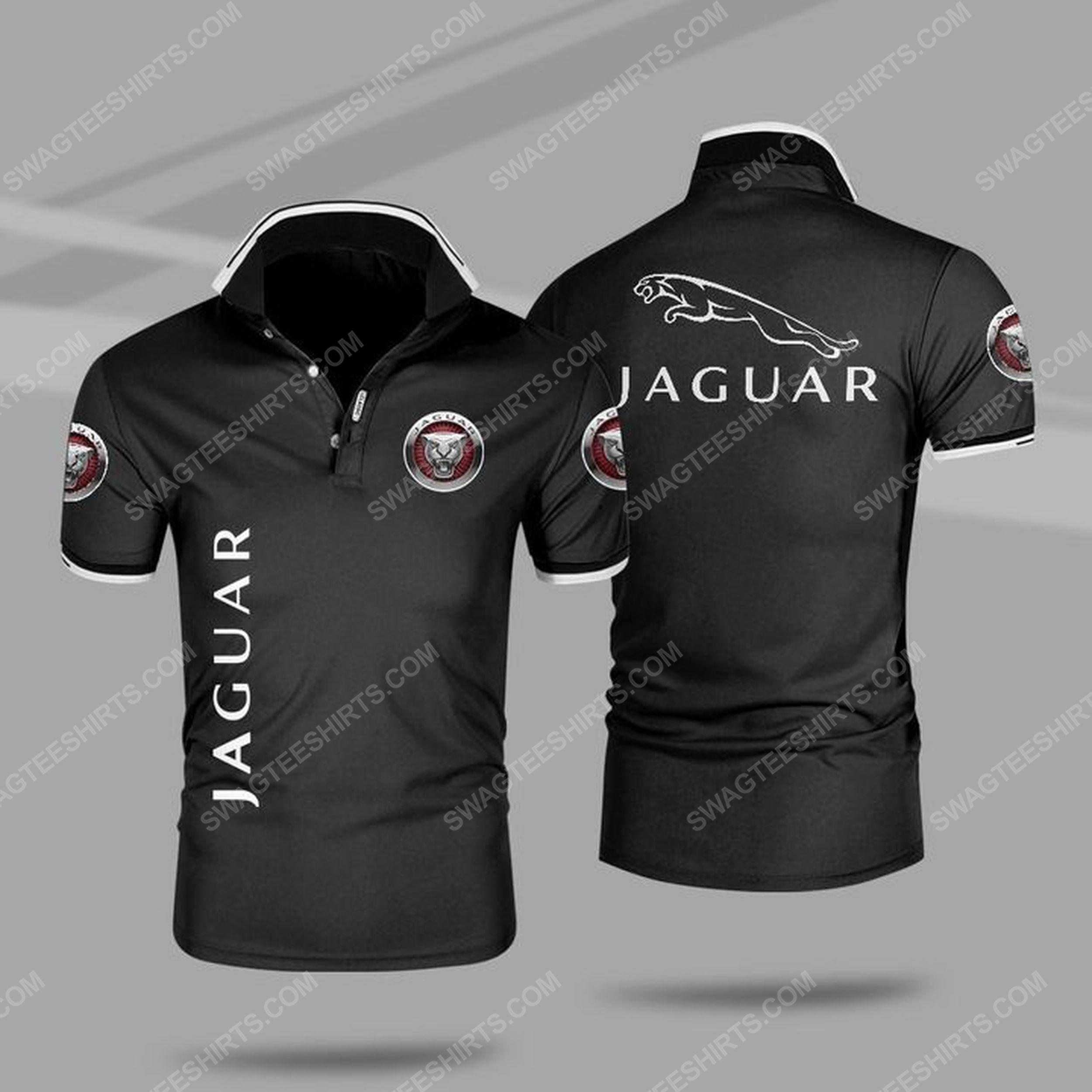 The jaguar car symbol all over print polo shirt - black 1