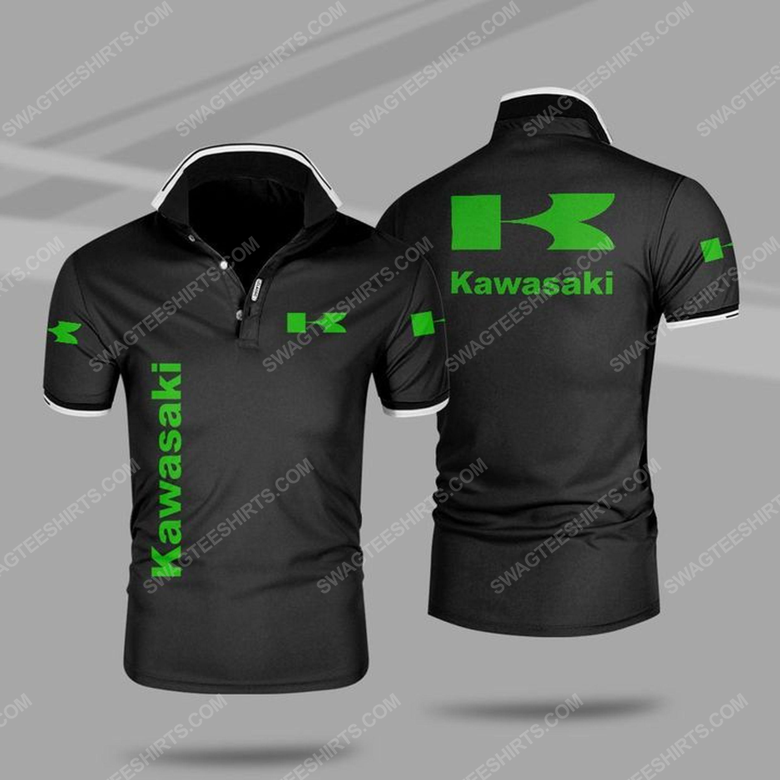 The kawasaki motors symbol all over print polo shirt - black 1
