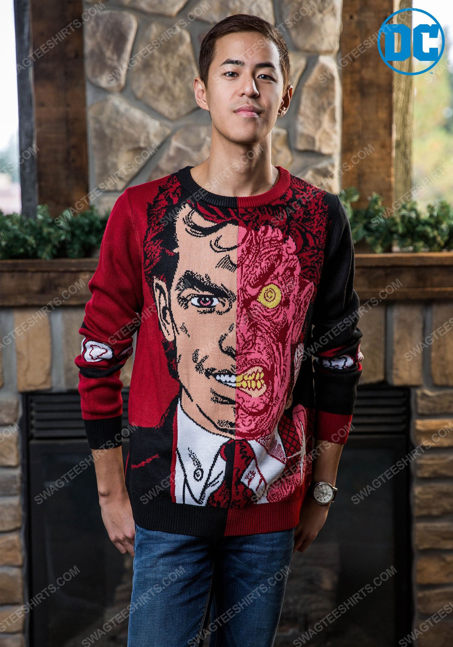 Christmas holiday batman two-face full print ugly christmas sweater 2