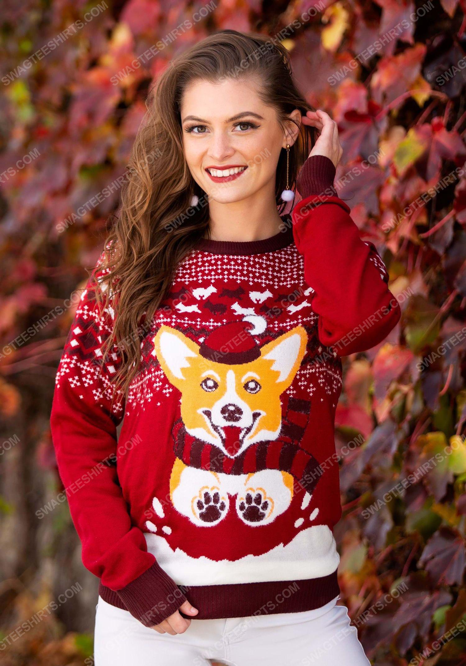 Christmas holiday corgi dog full print ugly christmas sweater 2