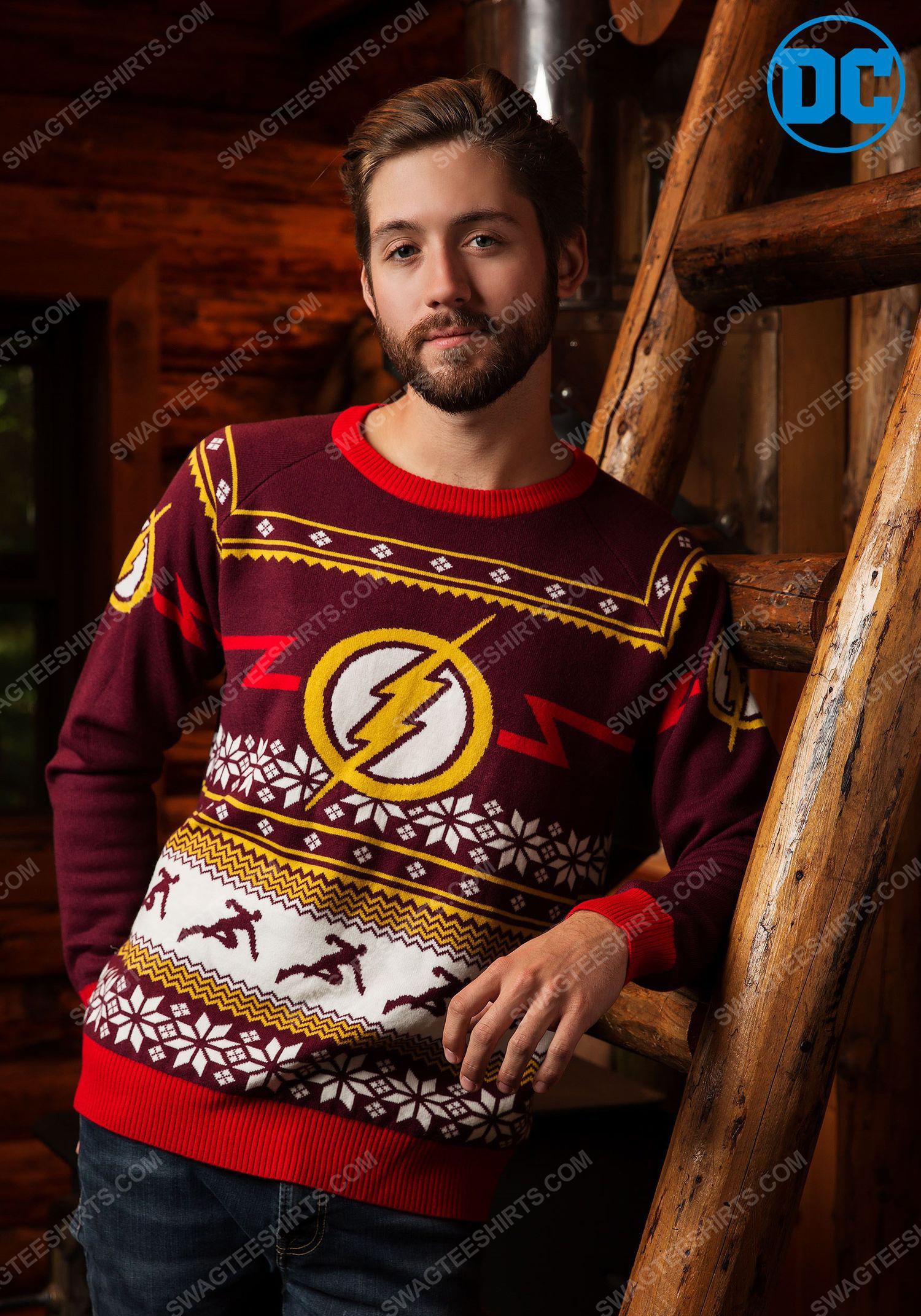 Christmas holiday dc comic the flash full print ugly christmas sweater 2