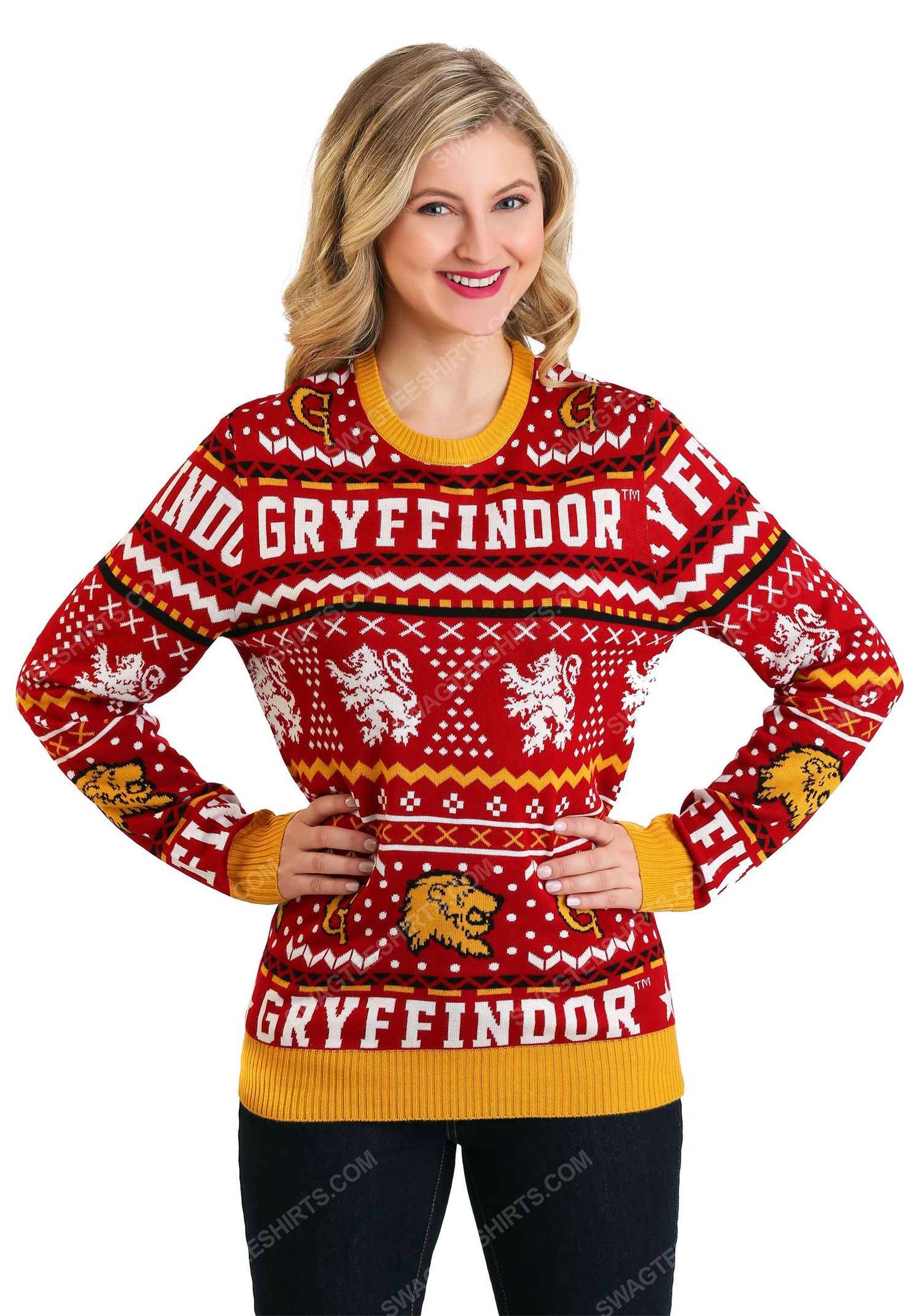 Christmas holiday harry potter gryffindor full print ugly christmas sweater 4 - Copy