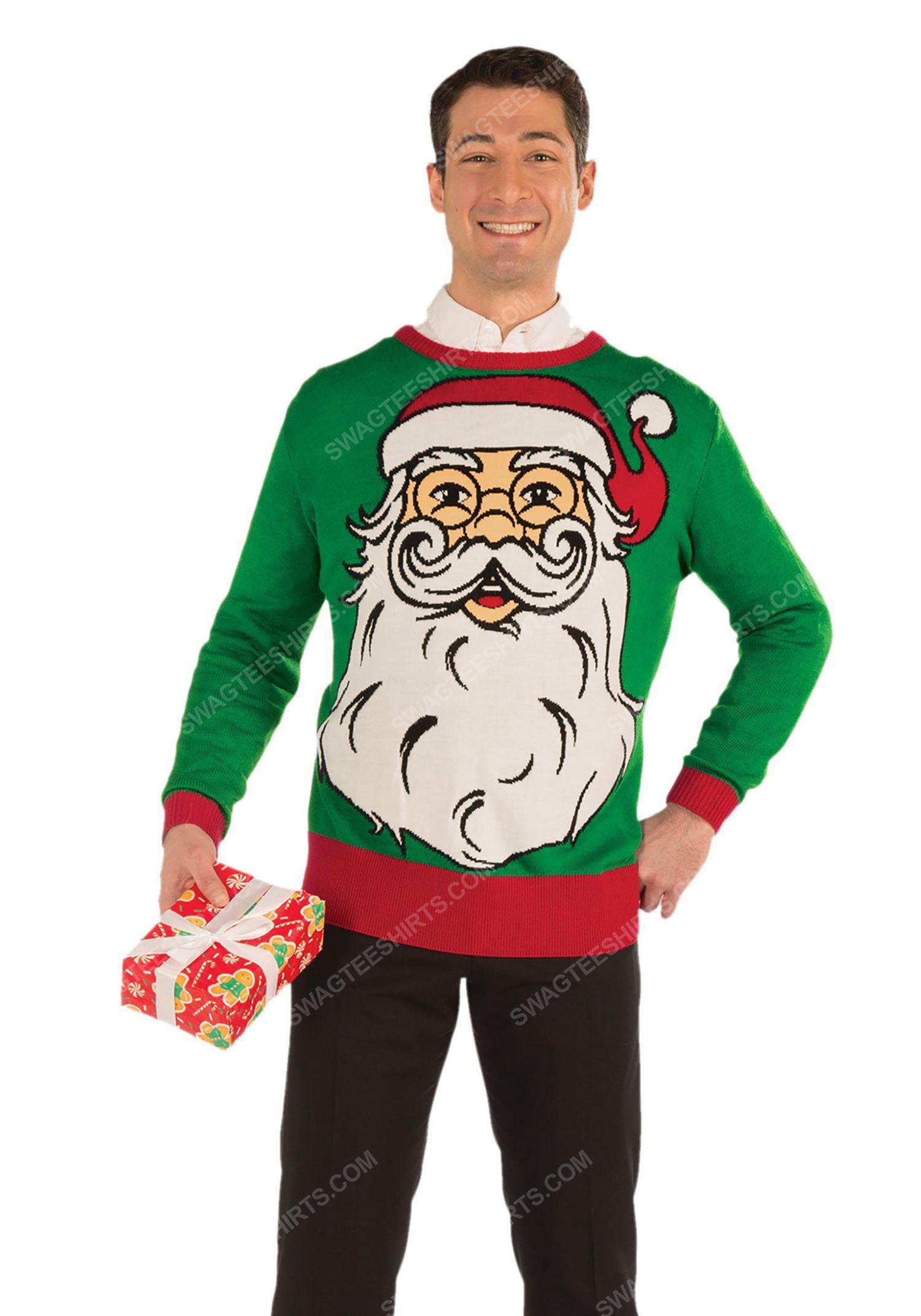Christmas holiday hipster santa full print ugly christmas sweater 2 - Copy (2)