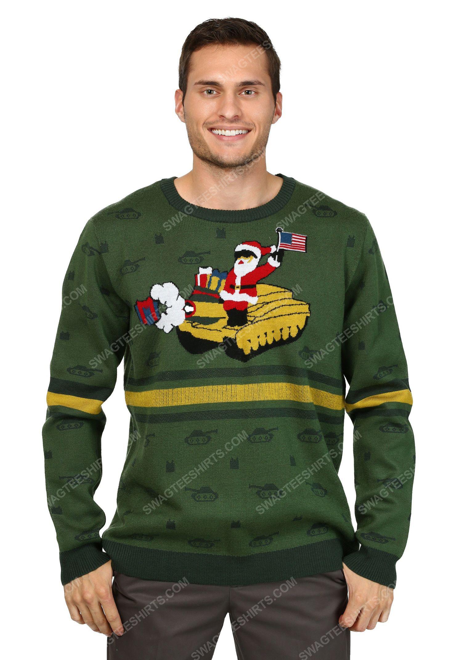 Christmas holiday santa on tank full print ugly christmas sweater 2 - Copy (2)