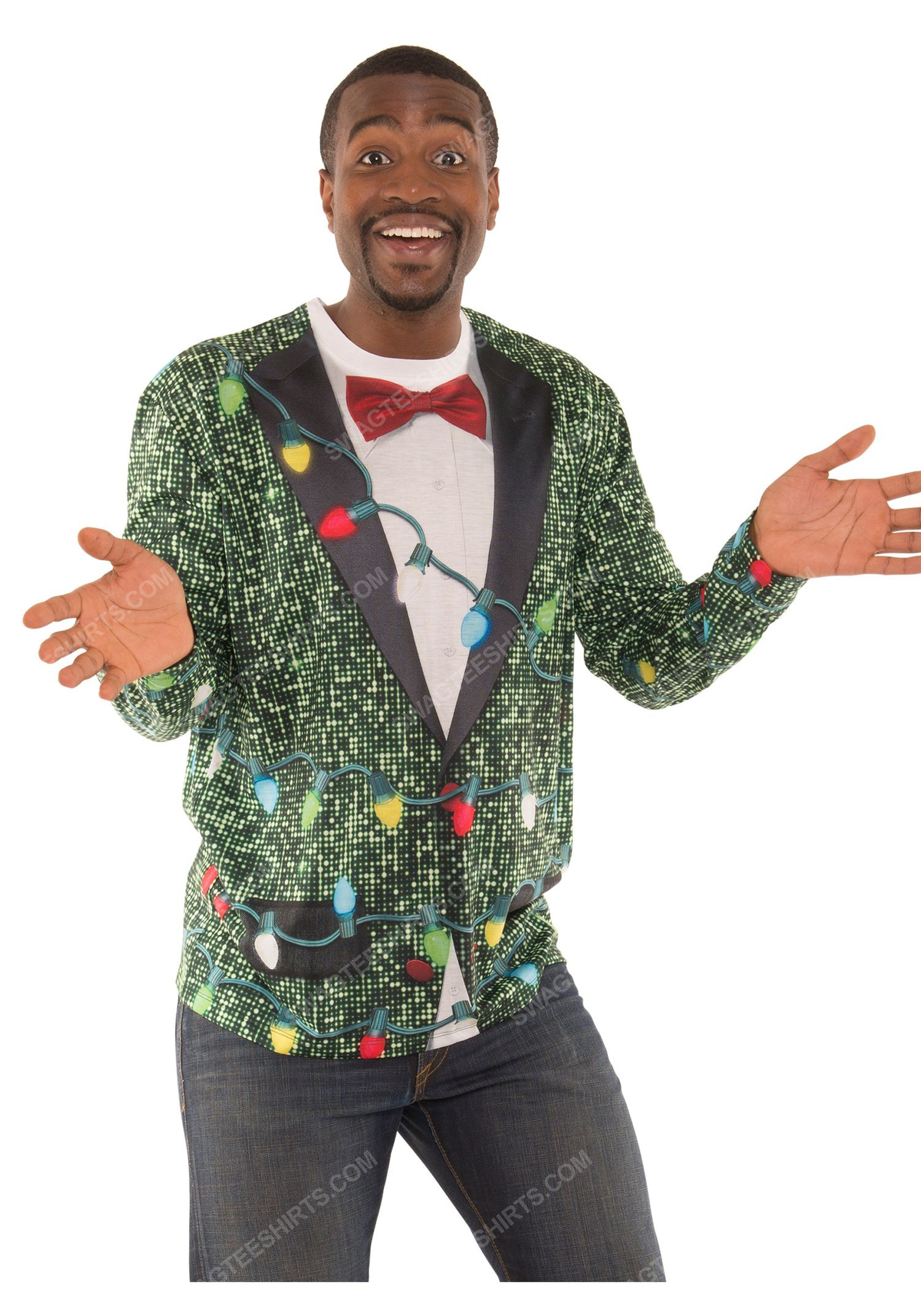 Christmas holiday sequin suit with lights full print ugly christmas sweater 2 - Copy