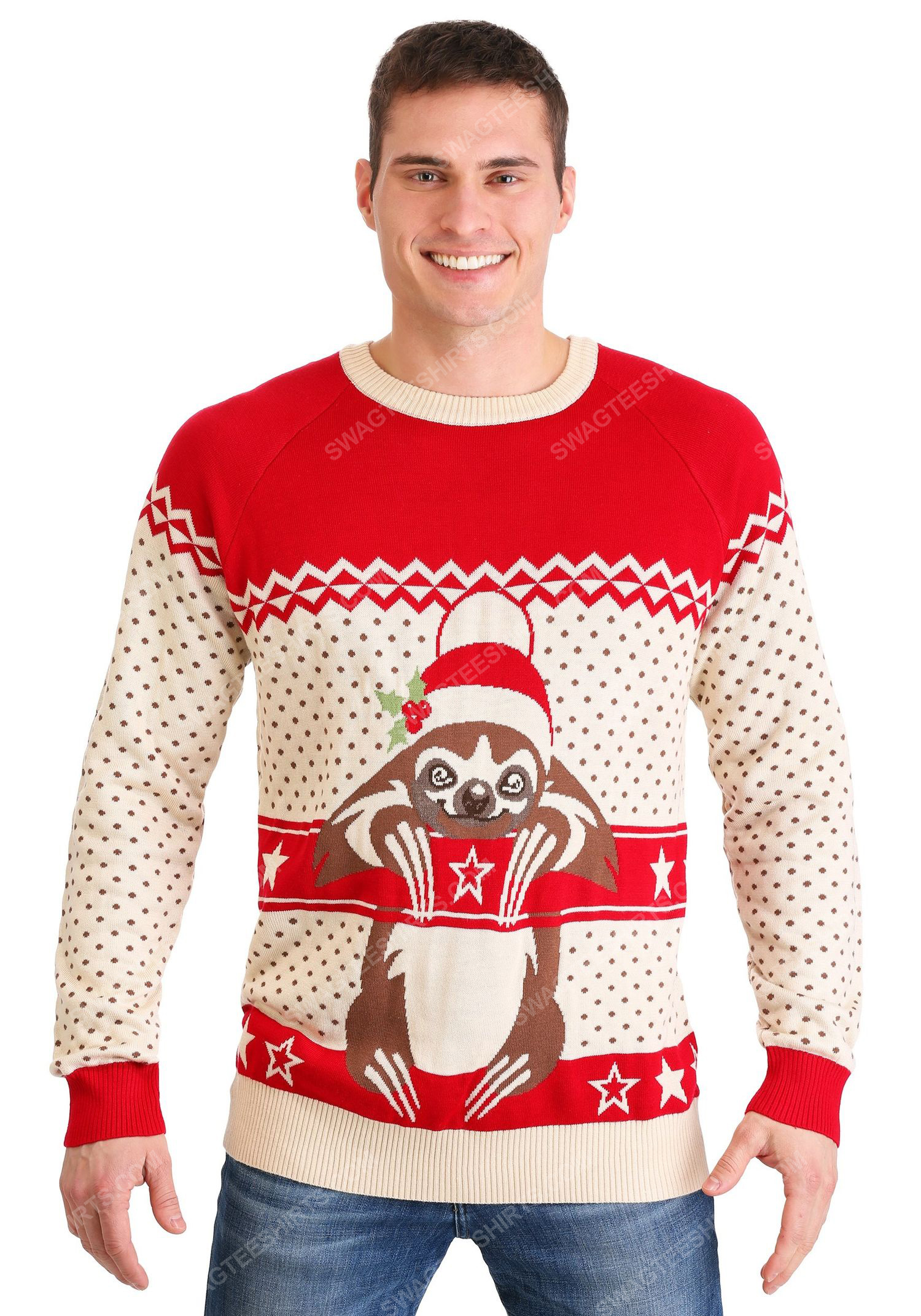Christmas holiday sloth full print ugly christmas sweater 2 - Copy