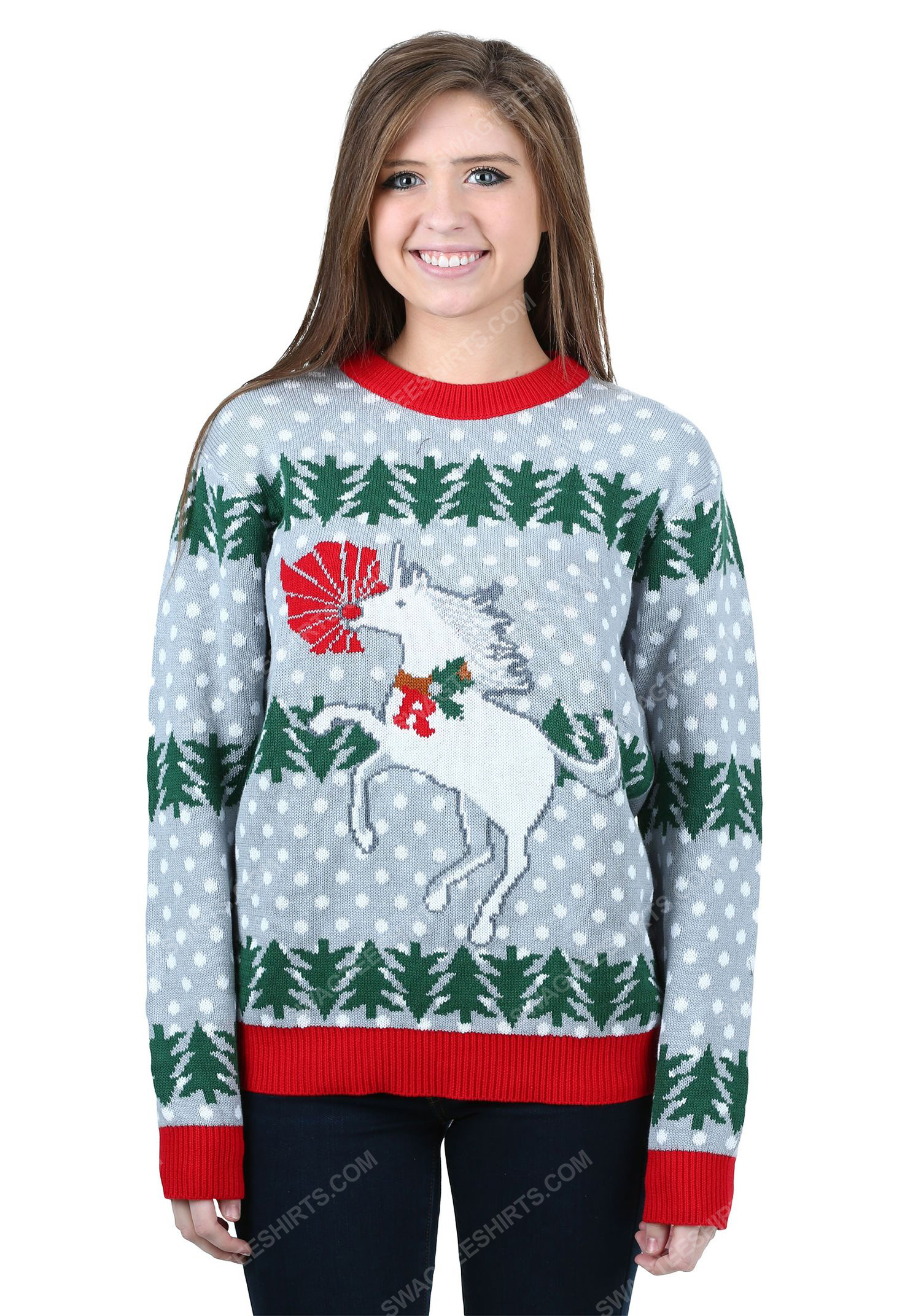 Christmas holiday unicorn rudolph full print ugly christmas sweater 2 - Copy (2)