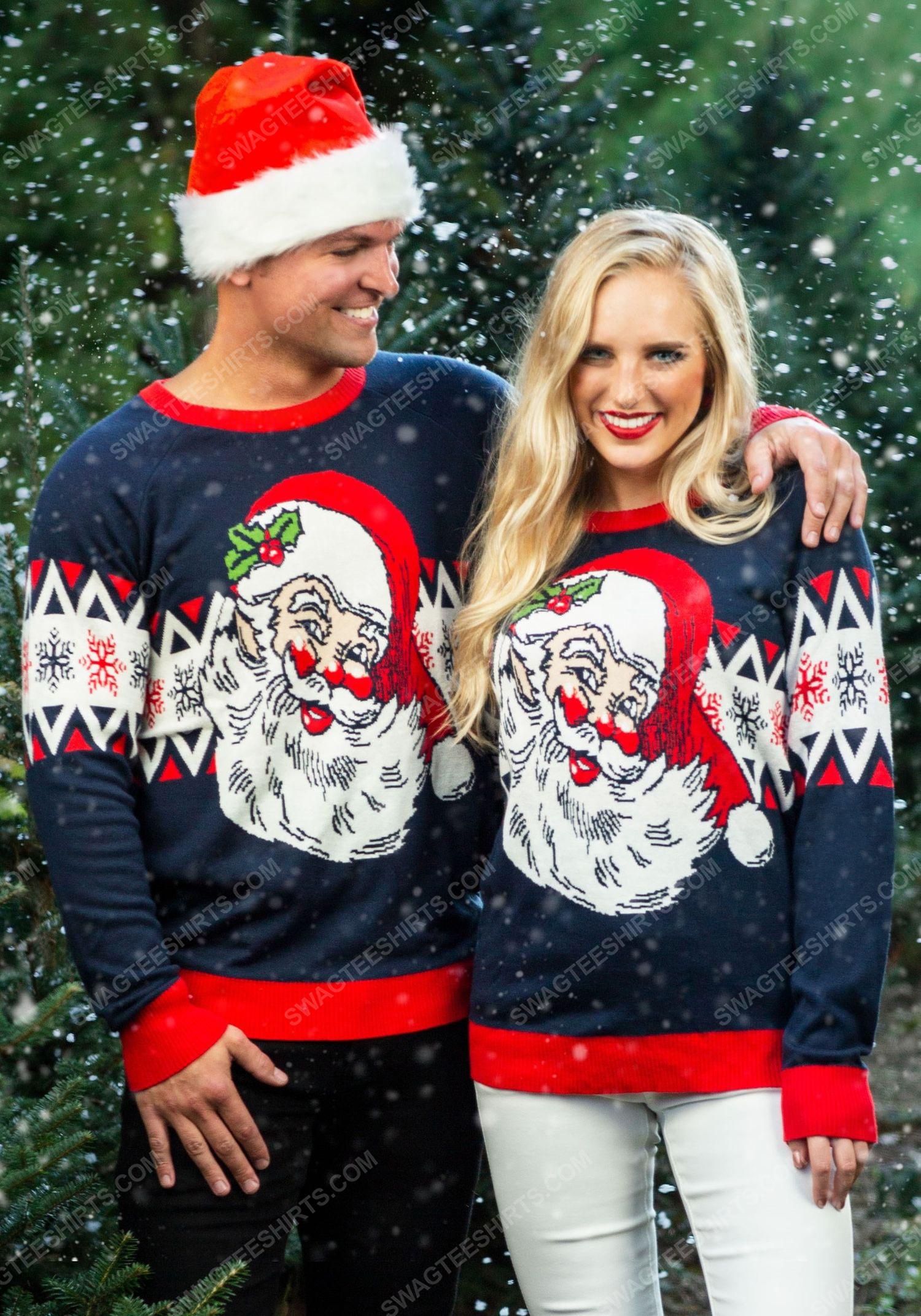 Christmas holiday vintage santa full print ugly christmas sweater 2
