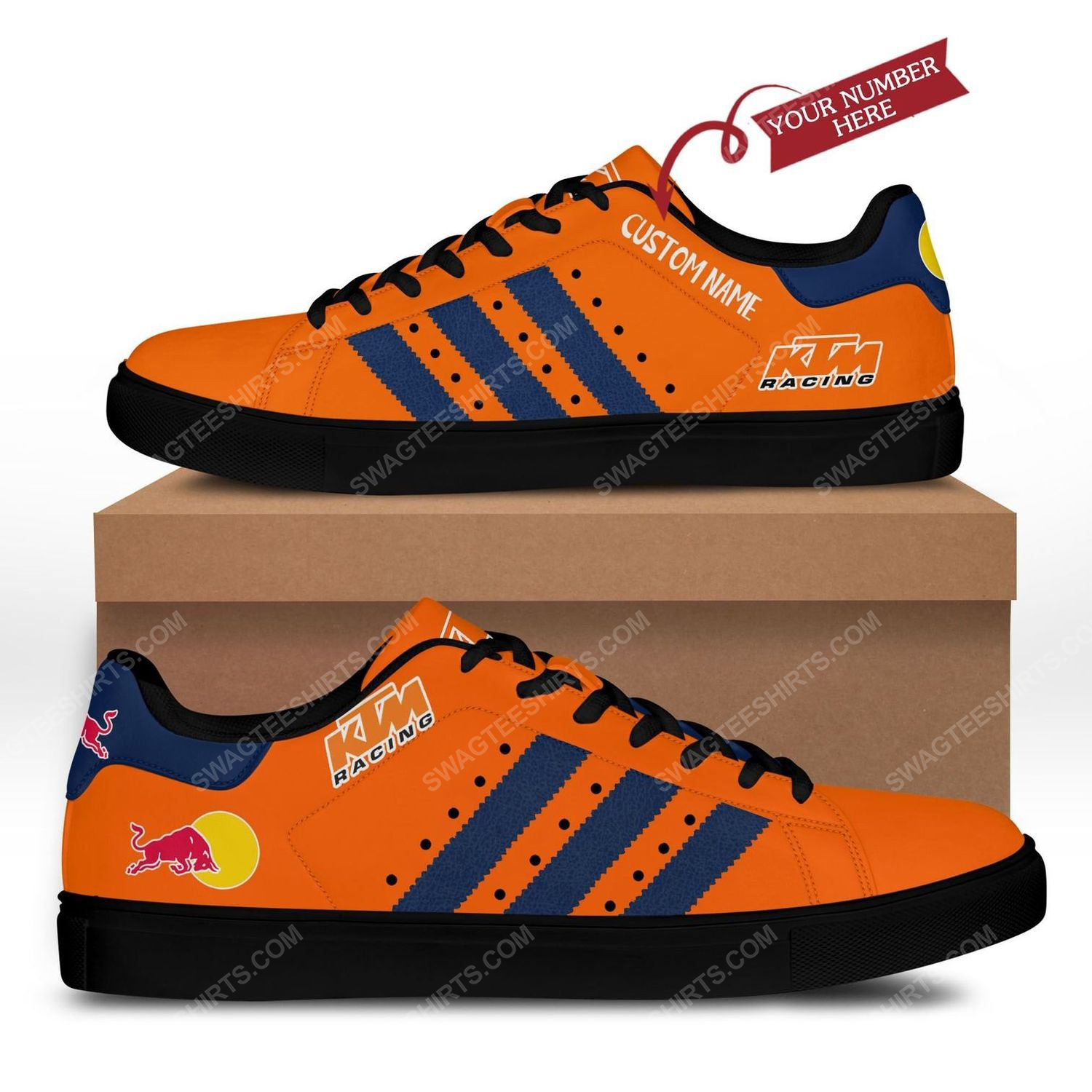 Custom red bull ktm factory racing's cooper stan smith shoes - black 1