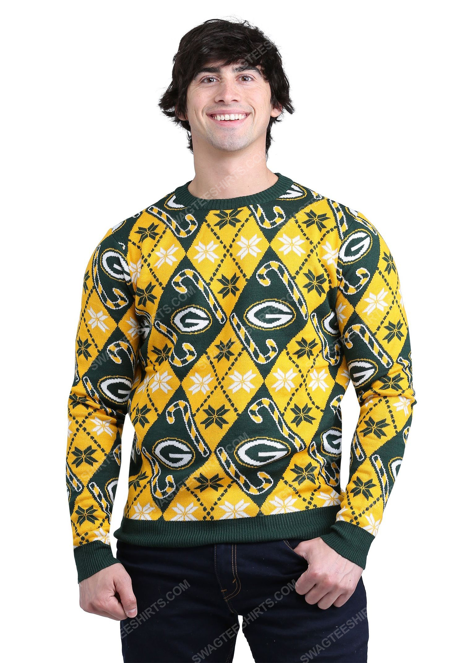 Green bay packers candy cane full print ugly christmas sweater 2 - Copy