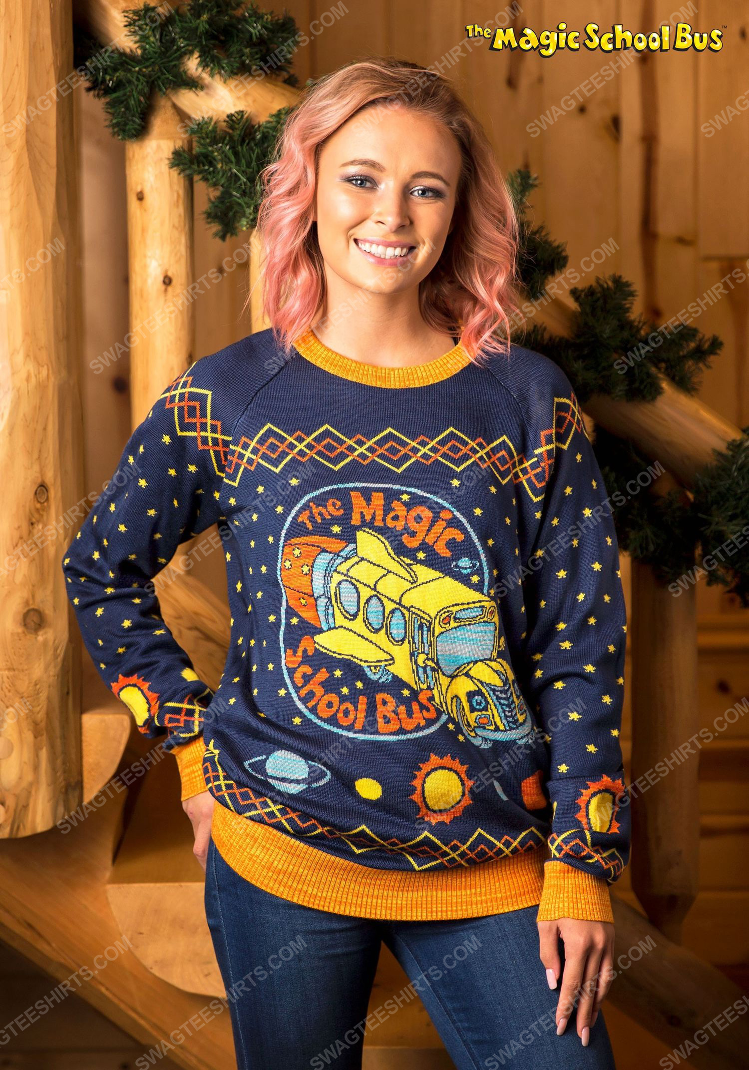 Harry potter the magic school bus full print ugly christmas sweater 2