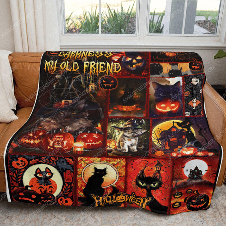 Hello darkness black cat halloween blanket 4