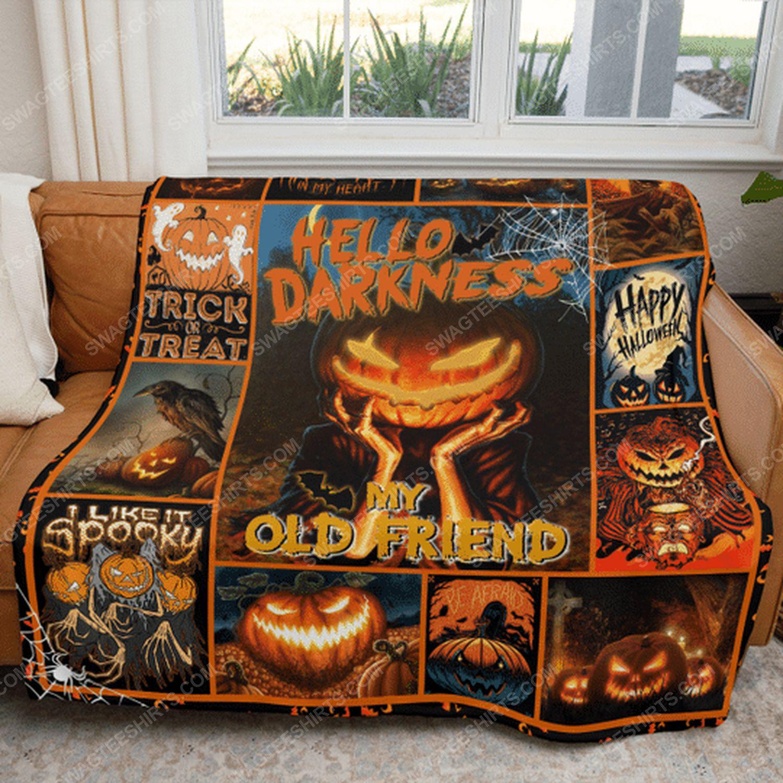Hello darkness my old friend pumpkin halloween blanket 5