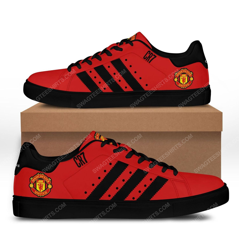 Manchester united football club black stripe stan smith shoes - black 1