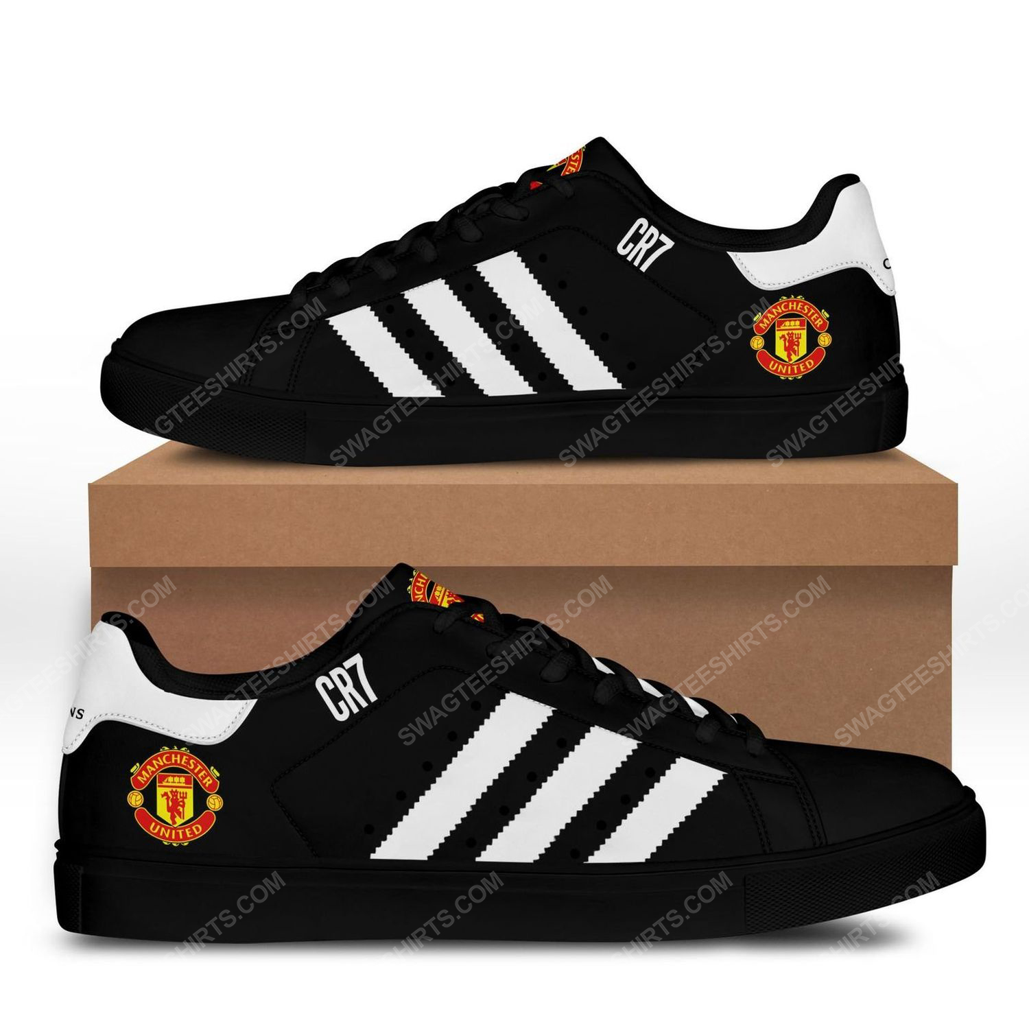 Manchester united football club cr7 stan smith shoes - black 1