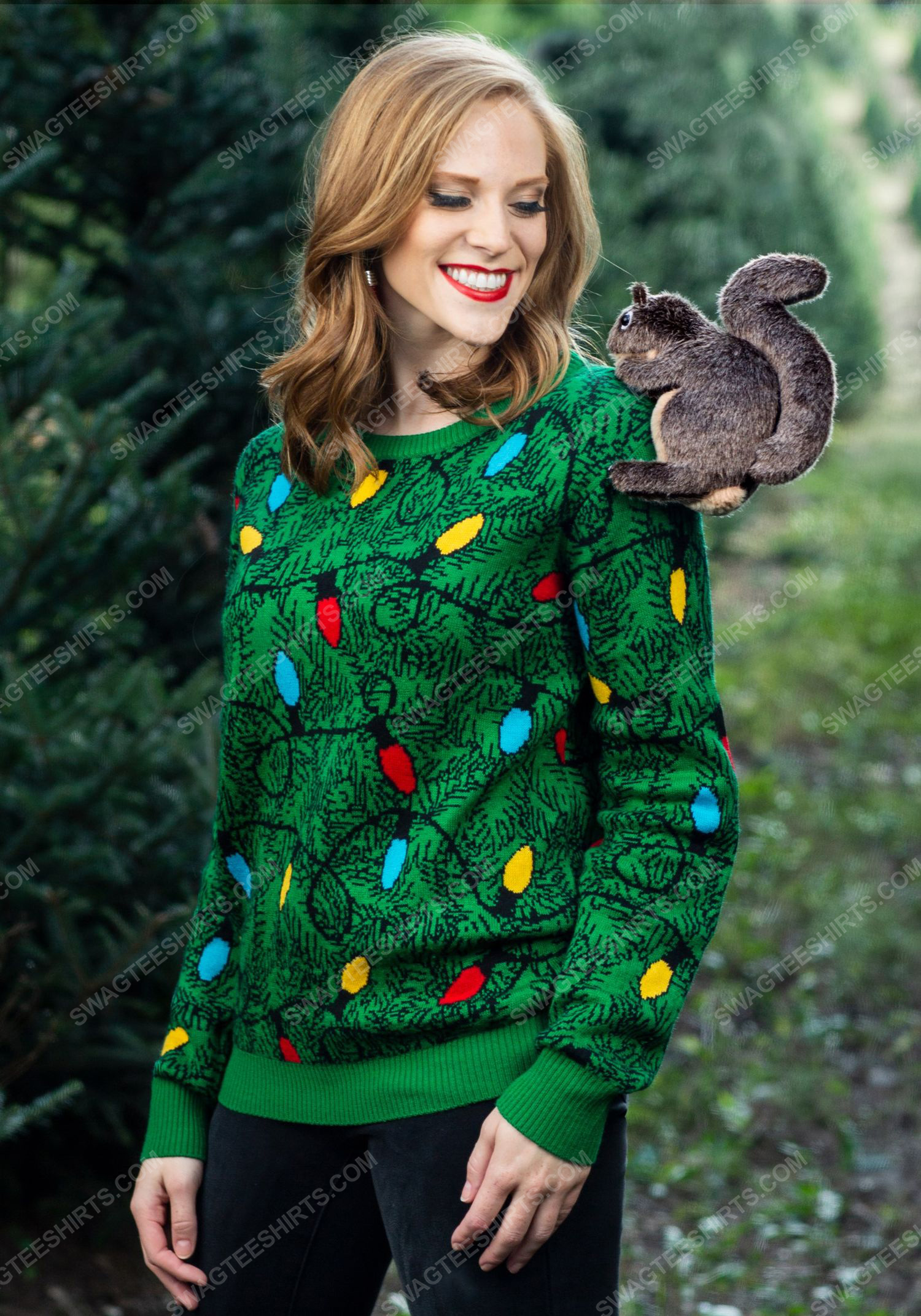 Squirrel in the christmas tree full print ugly christmas sweater 2