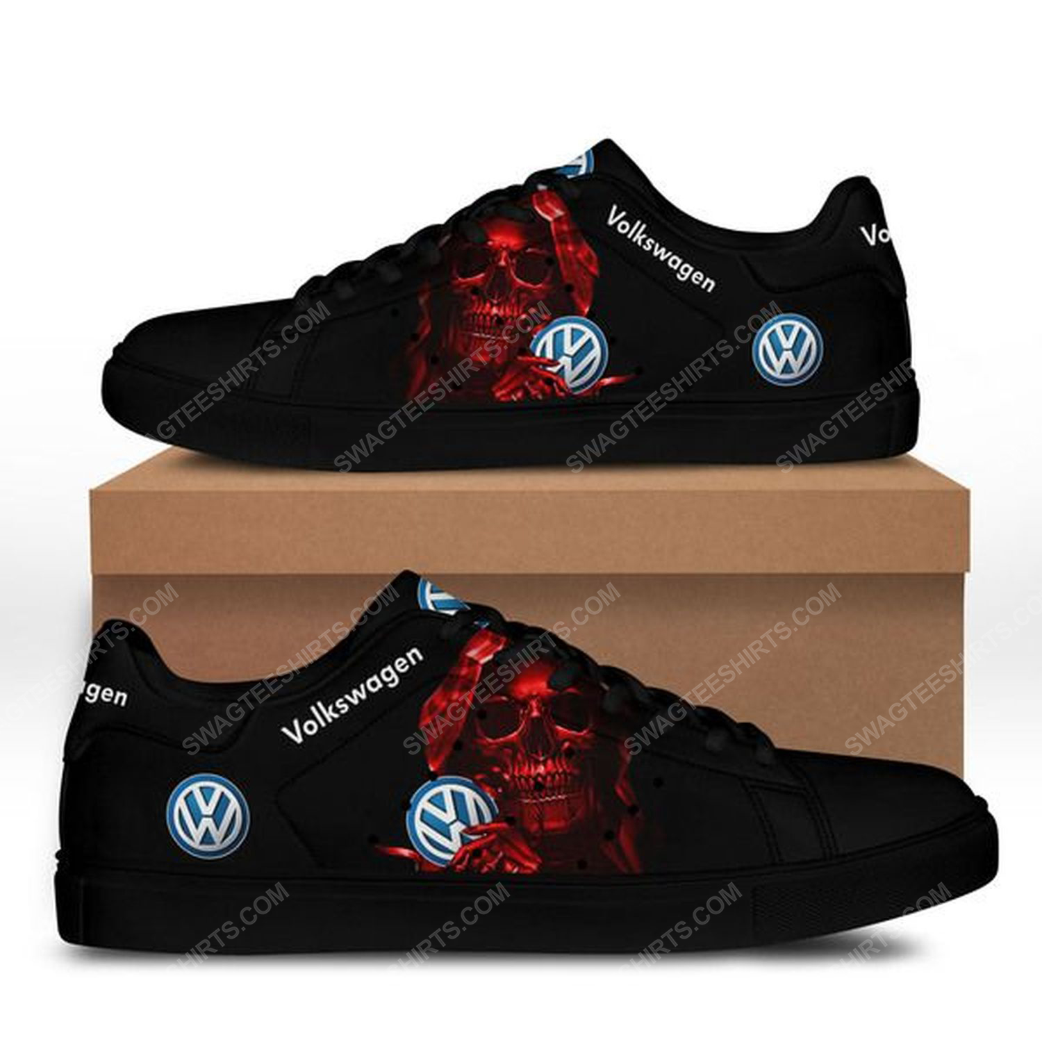 The red skull with volkswagen logo stan smith shoes - black 1
