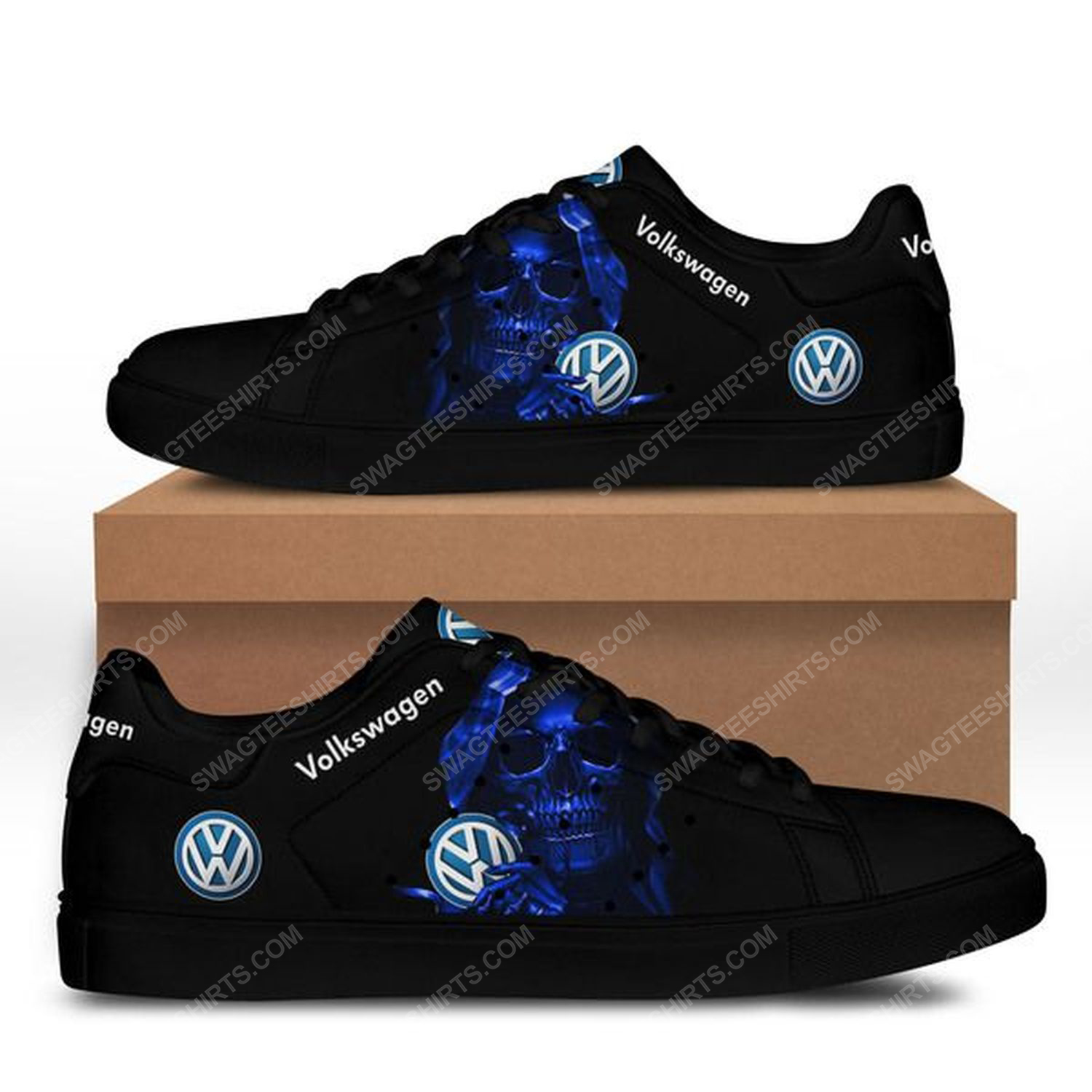 The skull with volkswagen logo stan smith shoes - black 1