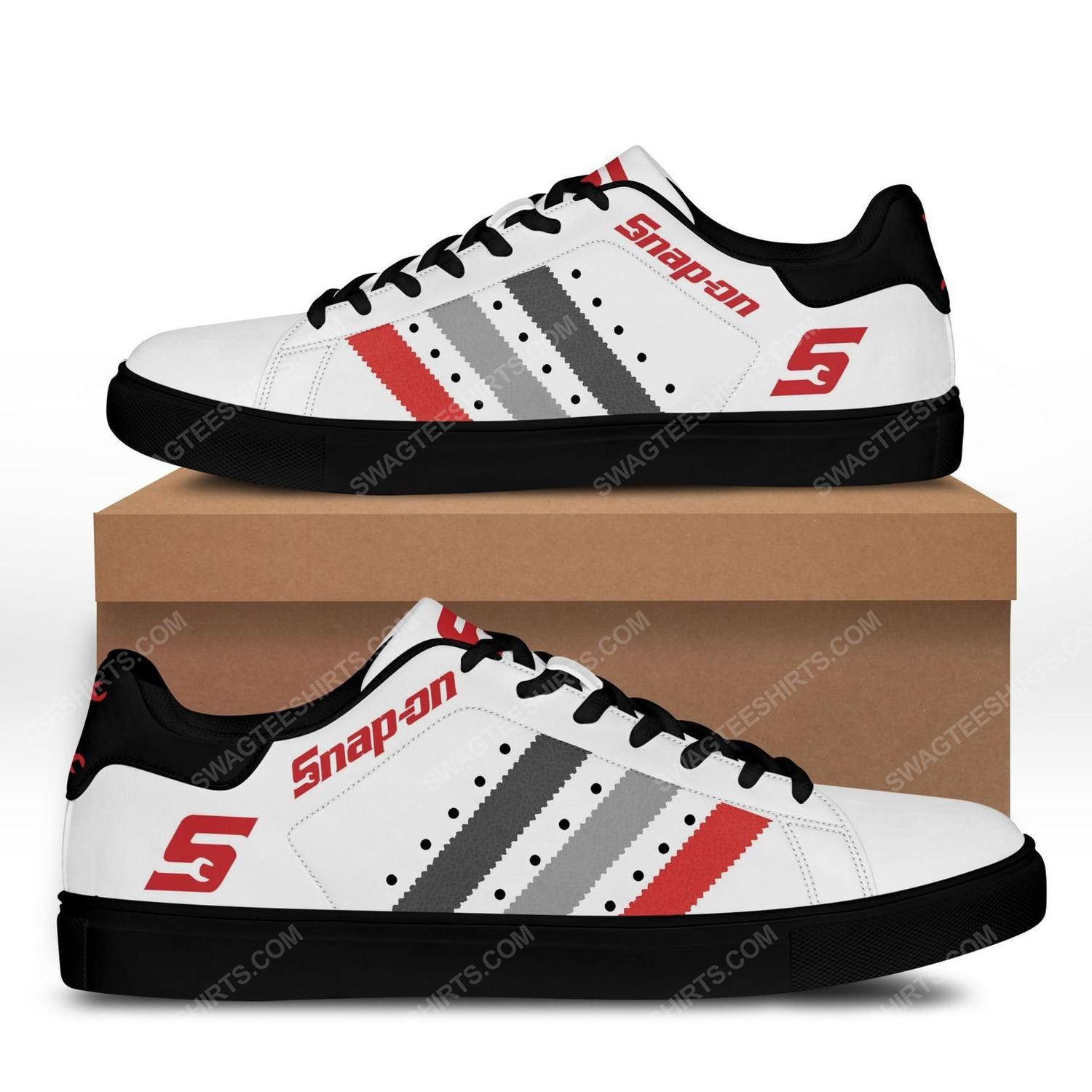 The snap-on version white stan smith shoes - black 1