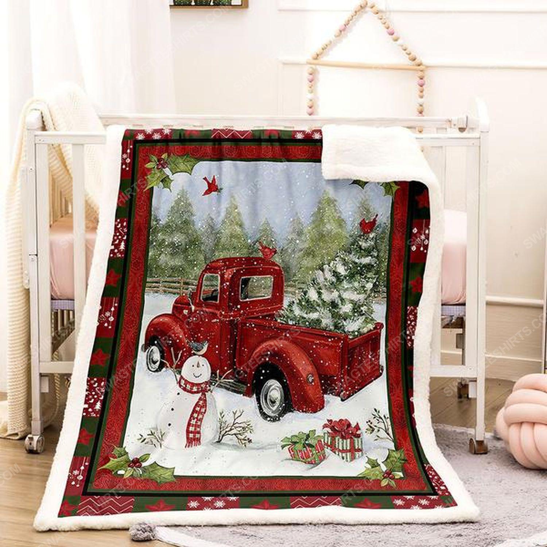 Vintage red truck christmas blanket 2 - Copy (2)