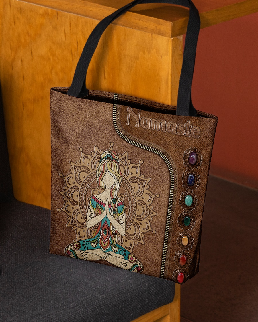 yoga namaste leather pattern all over printed tote bag