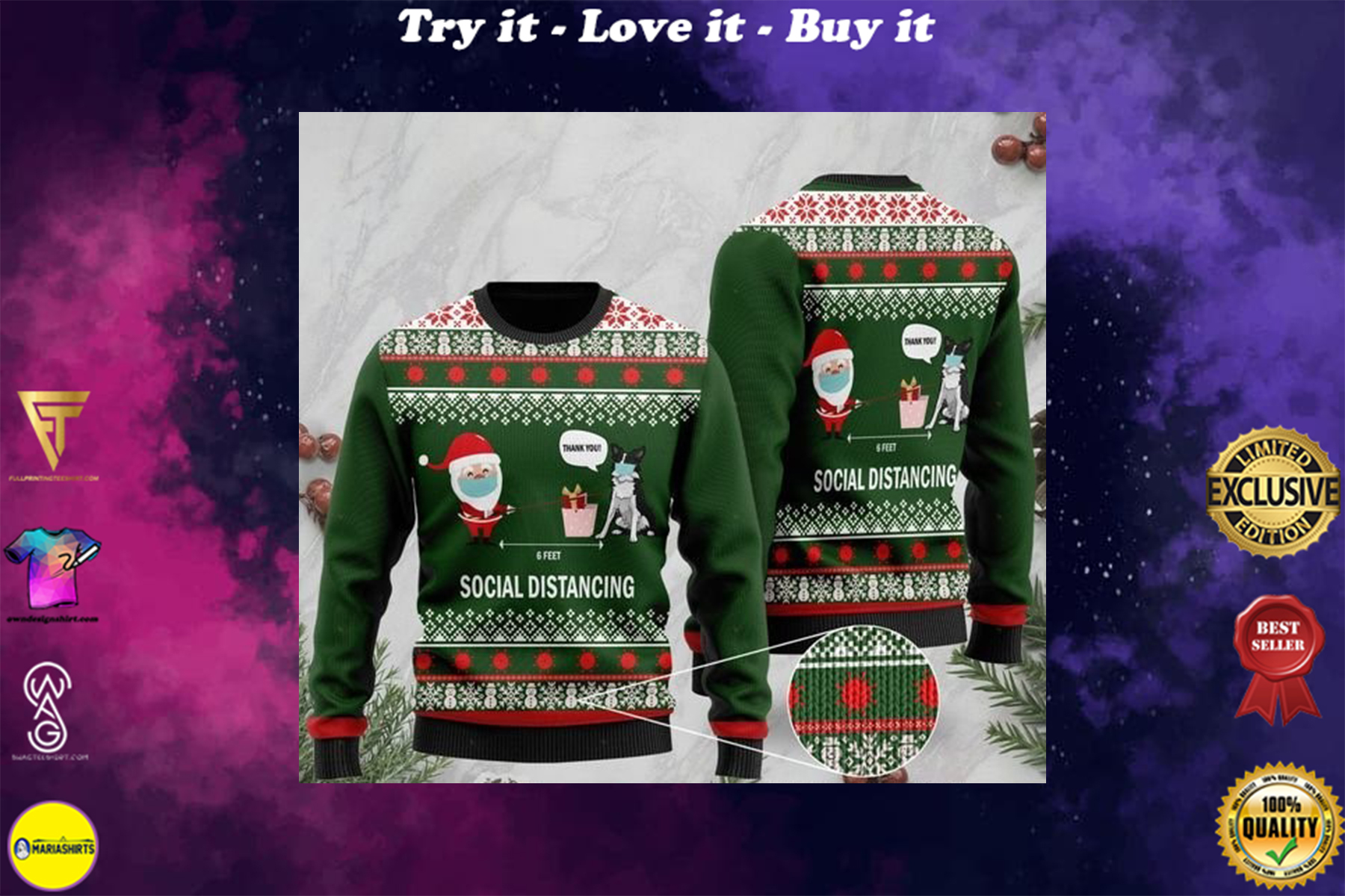 6 feet social distancing border collie and santa claus ugly sweater