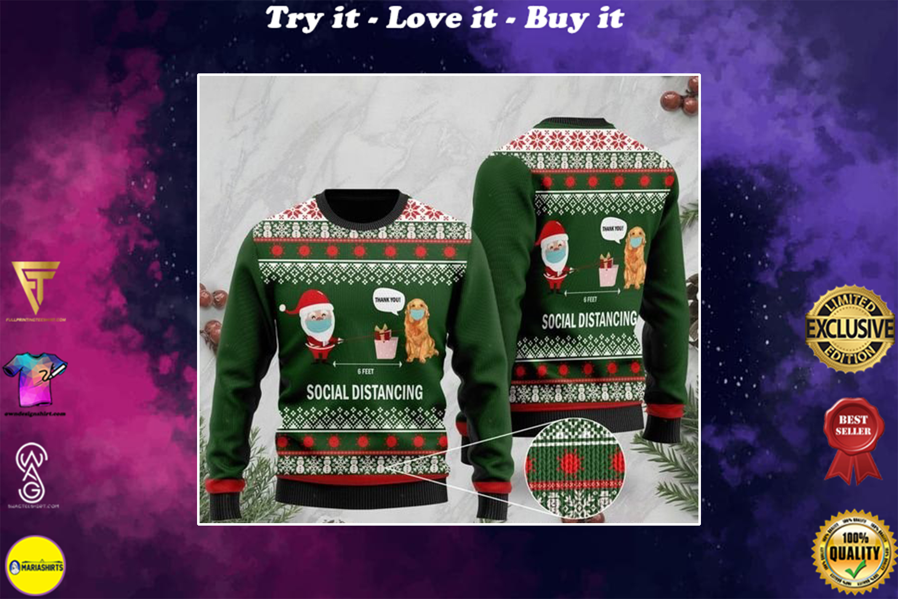 6 feet social distancing golden retriever and santa claus full printing ugly sweater