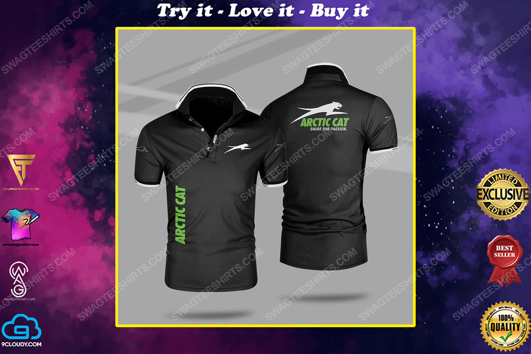 Arctic cat share our passion all over print polo shirt