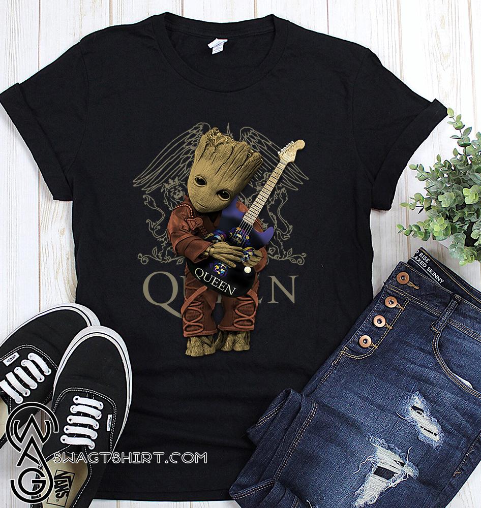 Baby groot hug queen rock band shirt