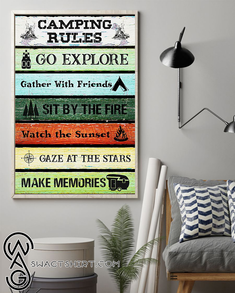 Camping rules go explore gather with friends poster
