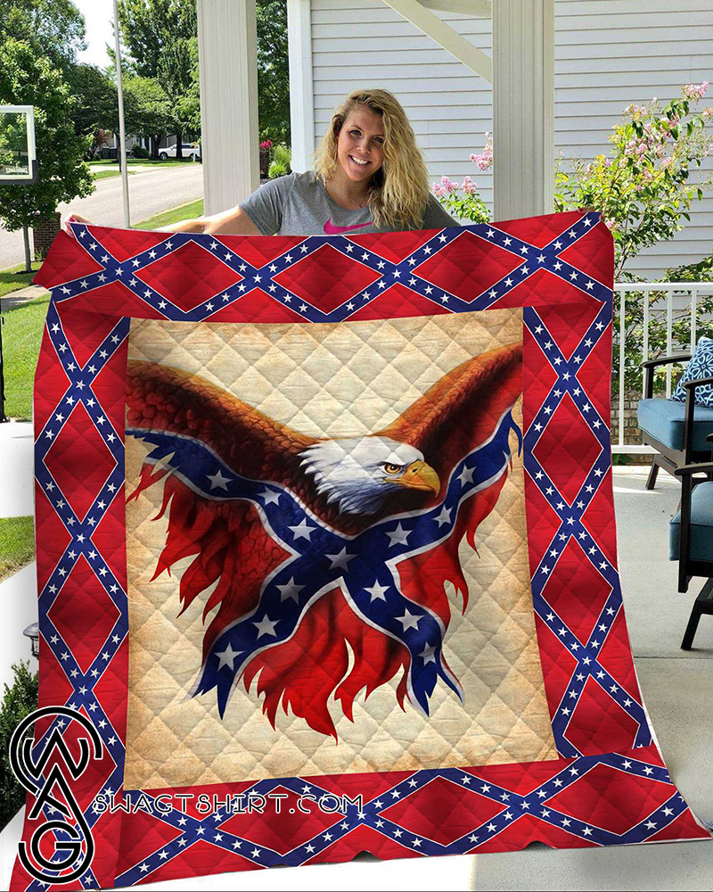 Confederate flag eagle all over printed quilt