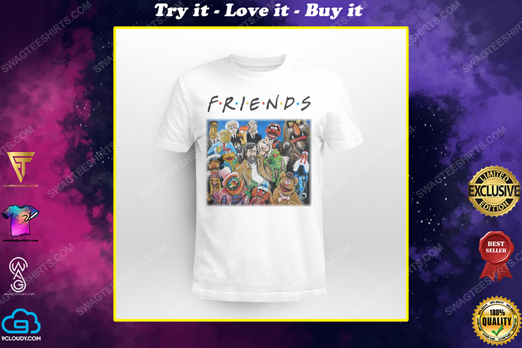 Friends tv show the muppets characters shirt