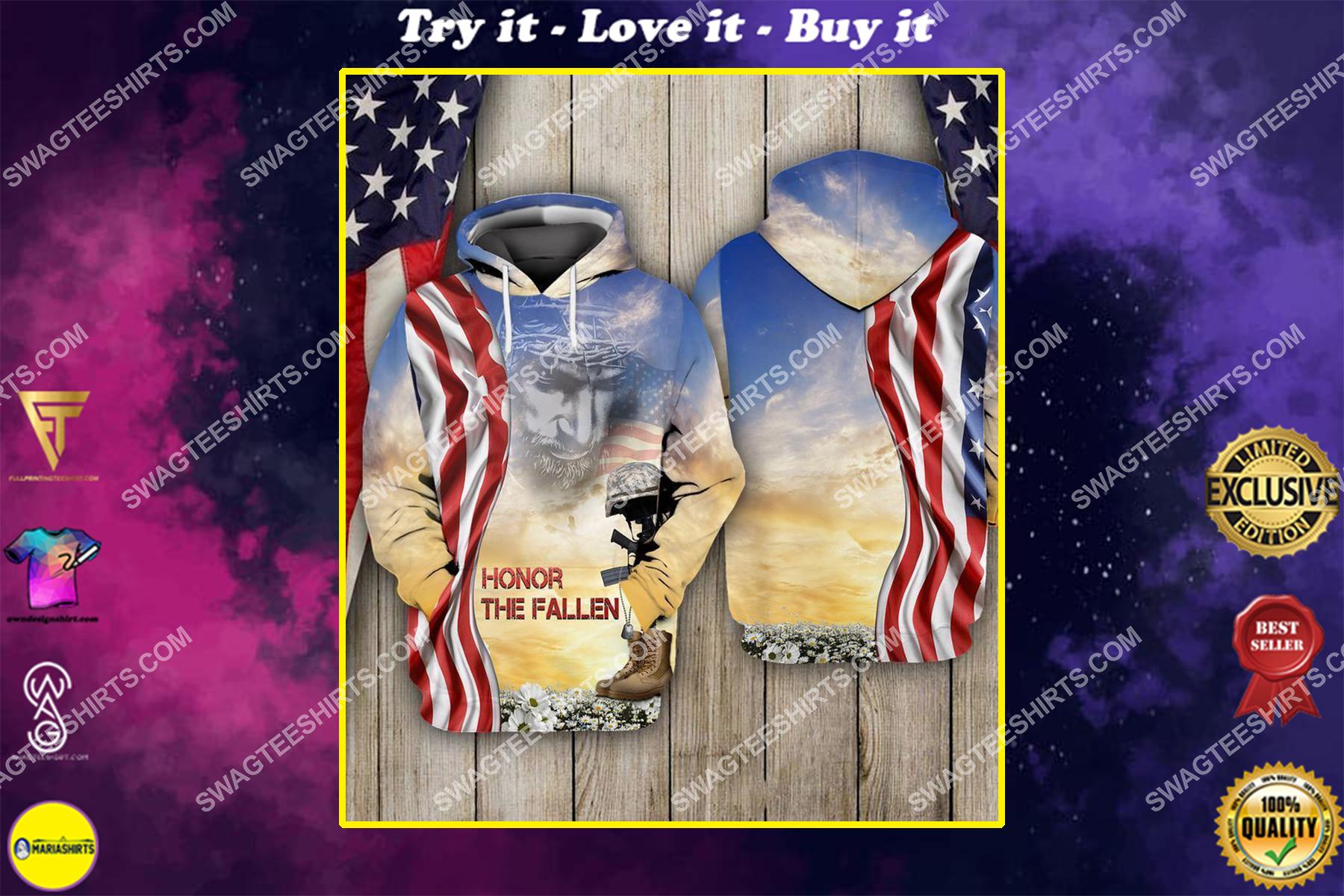 God honor the fallen veterans day full print shirt