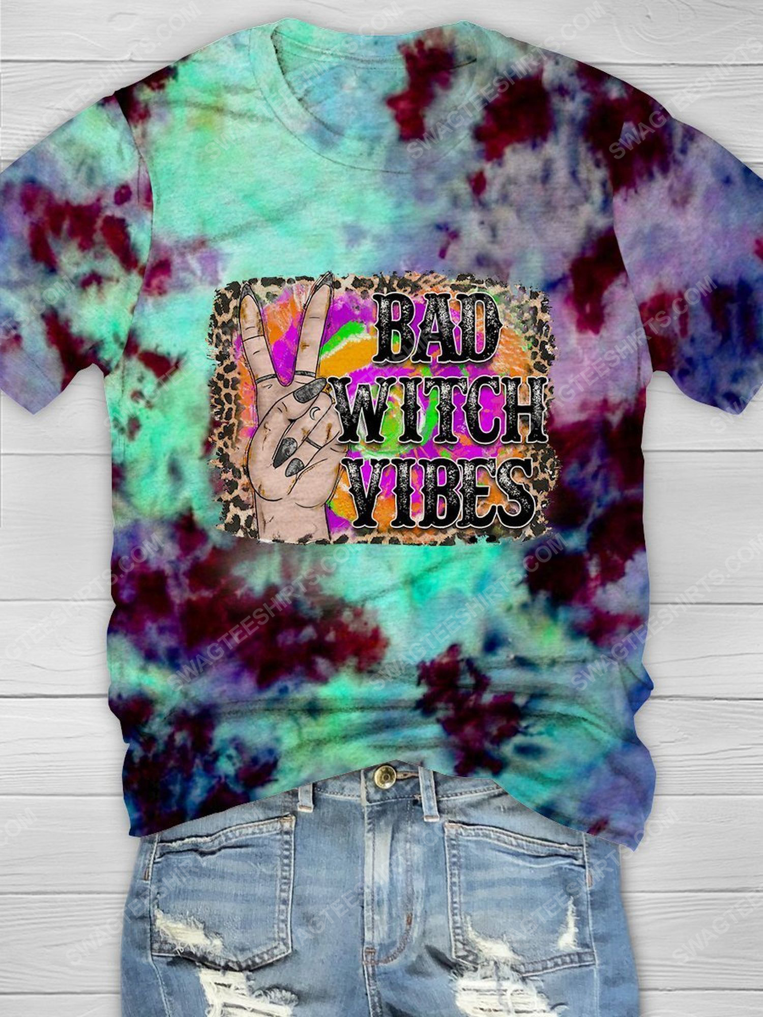 Halloween bad witch vibes tie dye shirt 1 - Copy (2)