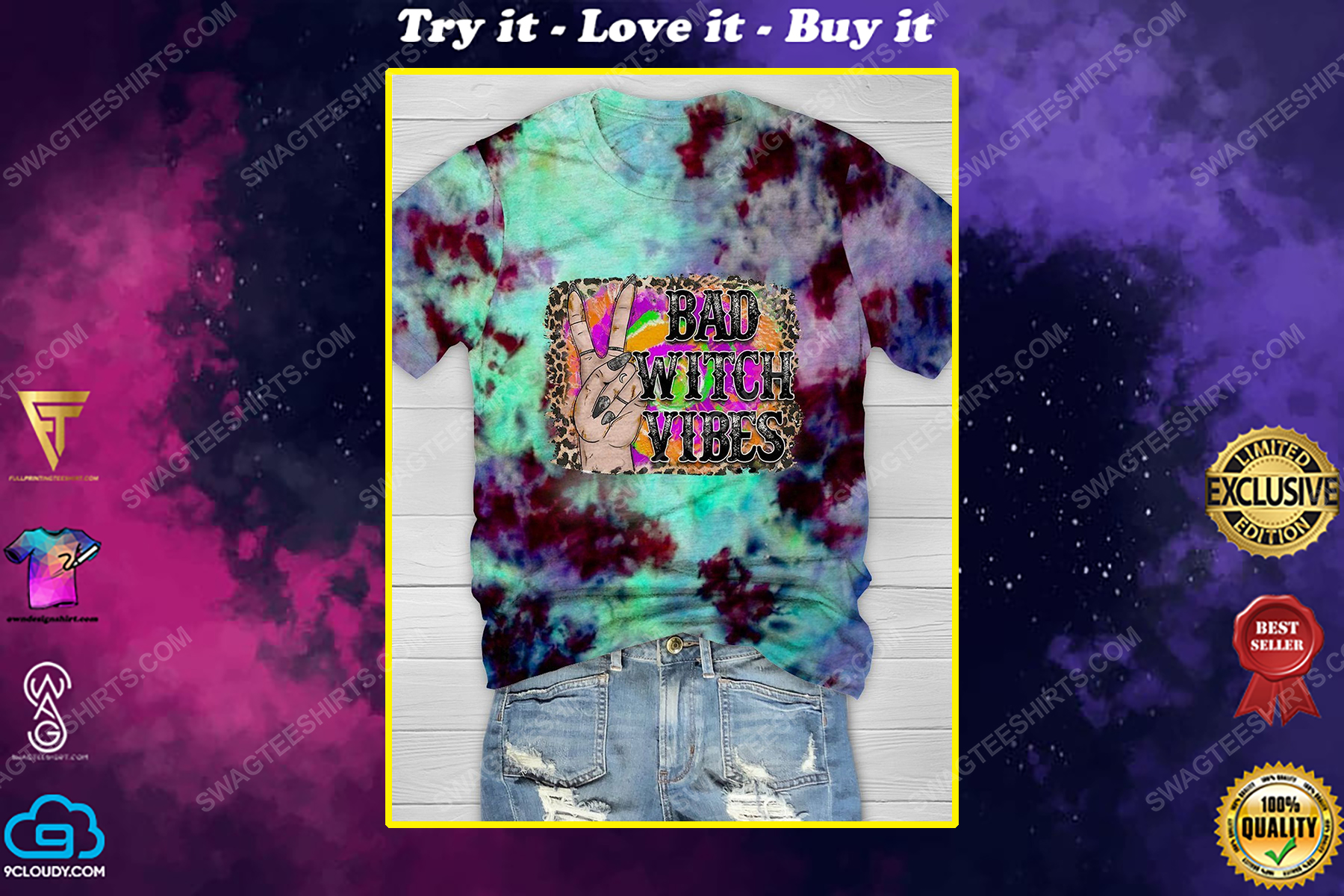 Halloween bad witch vibes tie dye shirt