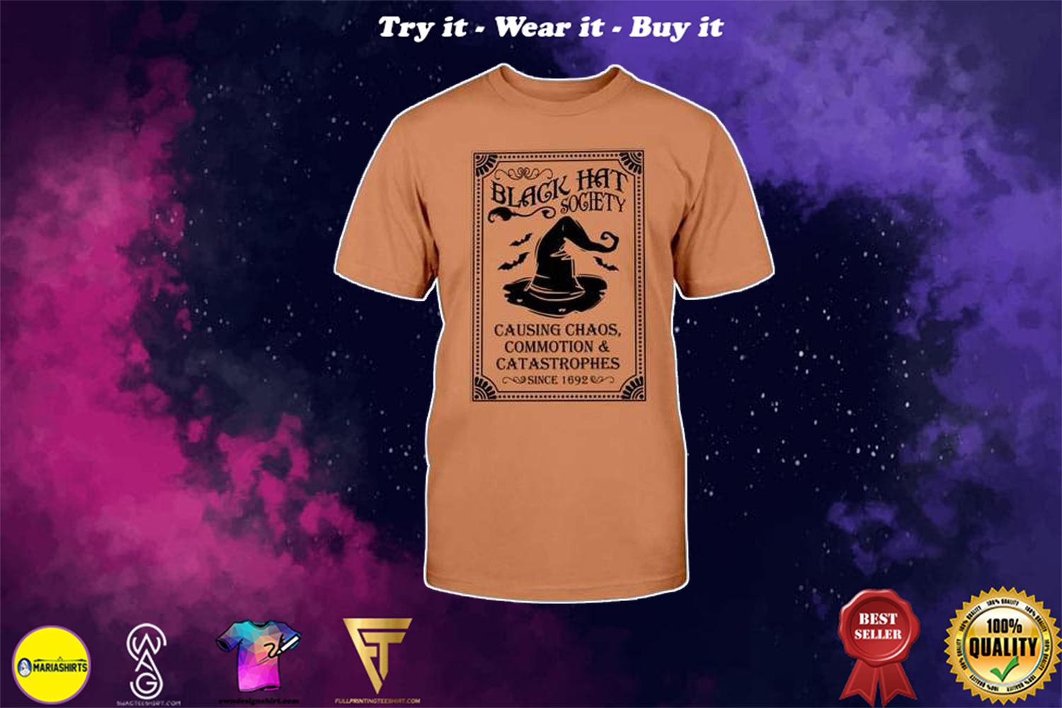 Halloween black hat society causing chaos commotion and catastrophes shirt