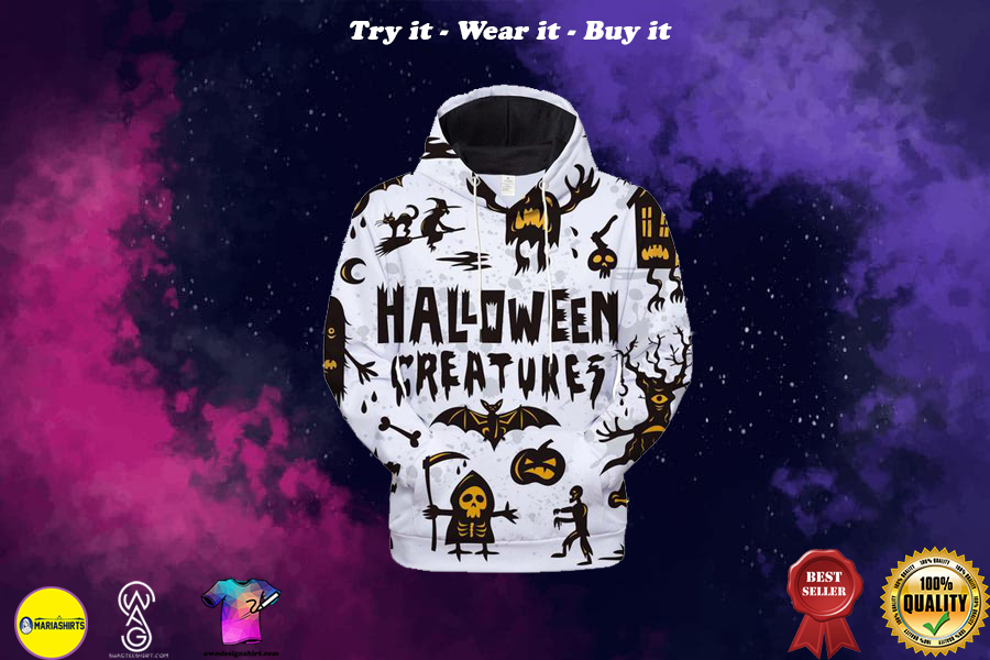 Halloween creatures all over printed shirt