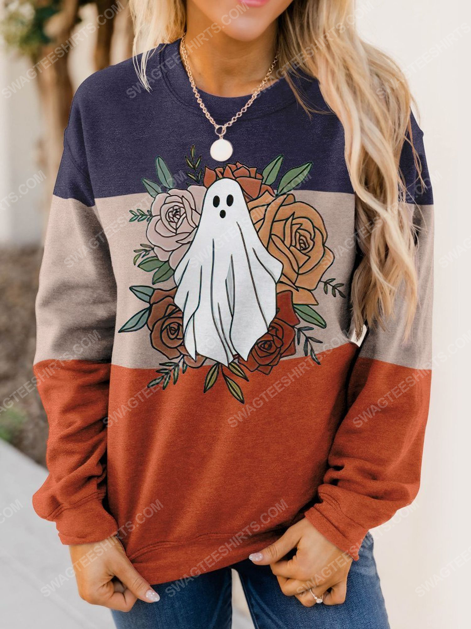 Halloween floral and ghost full print shirt 1