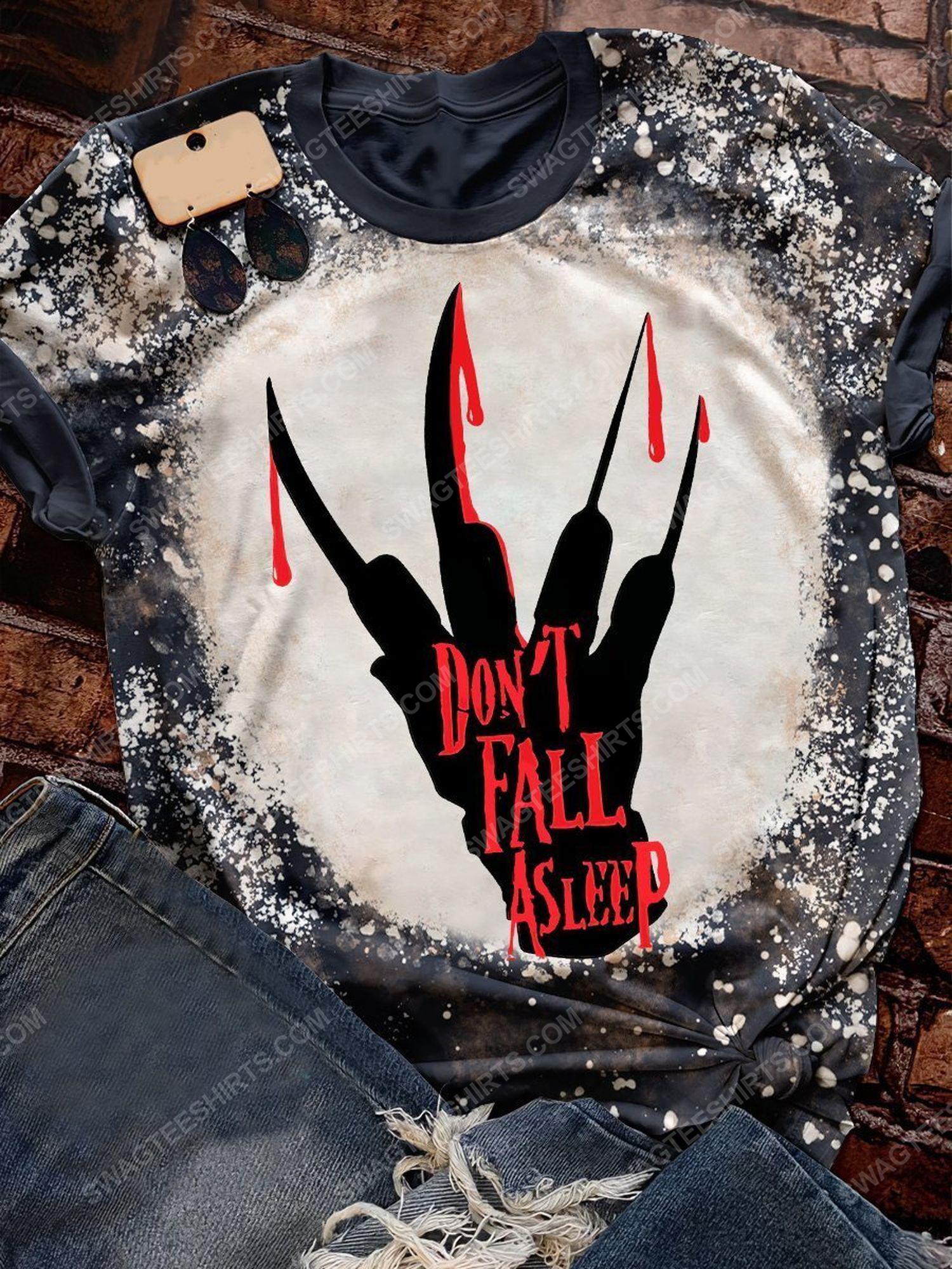 Halloween freddy krueger don't fall asleep bleached shirt 1
